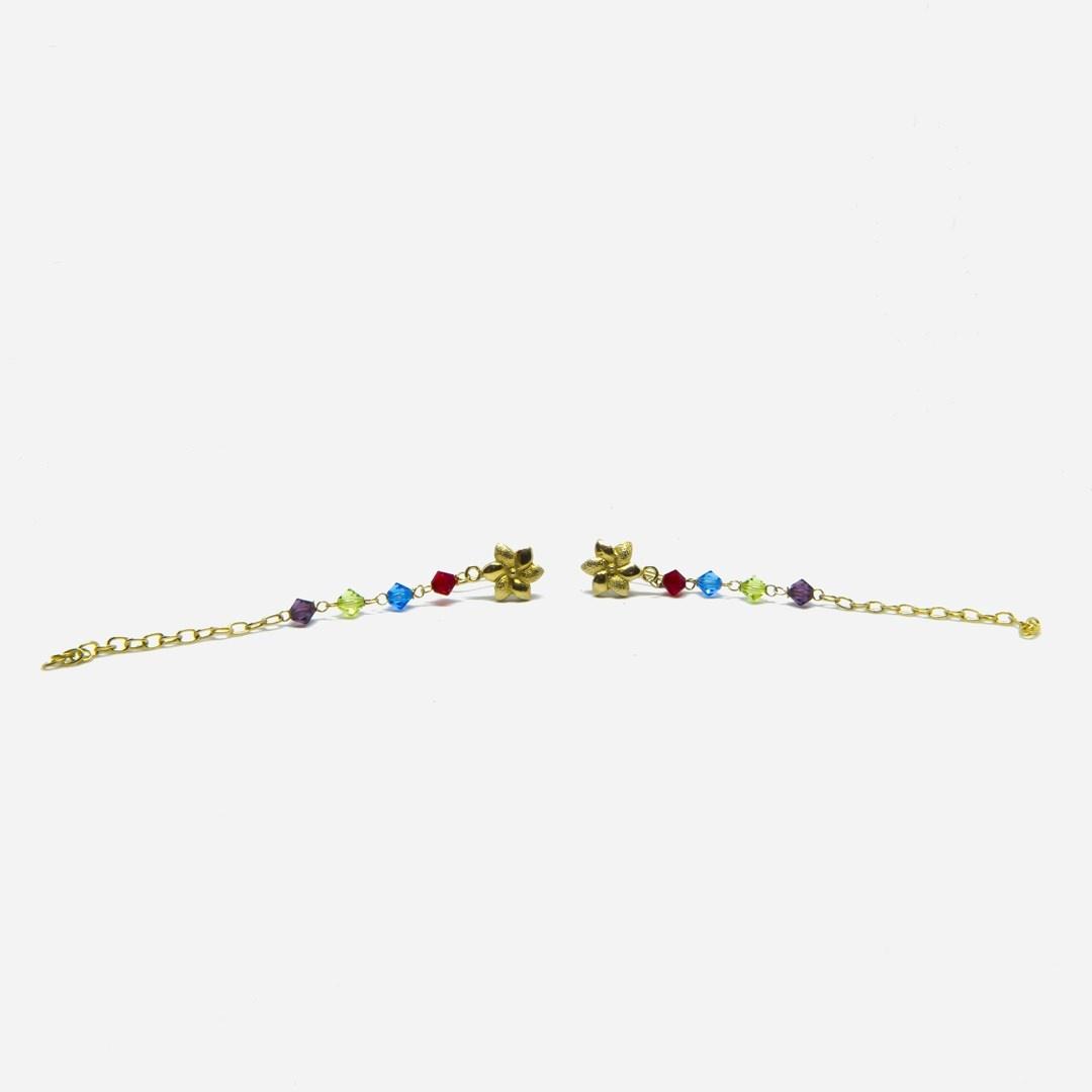 Oorbellen kettinkjes met bloemetje en gekleurde kralen-4