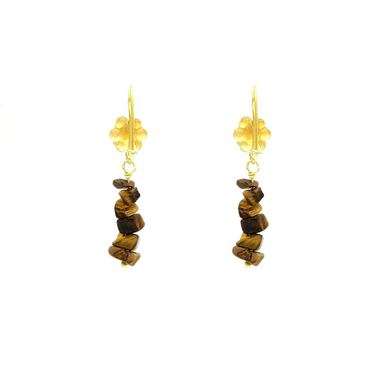 Oorbellen hangers bloem met bruine ongeslepen stukjes steen eraan-1