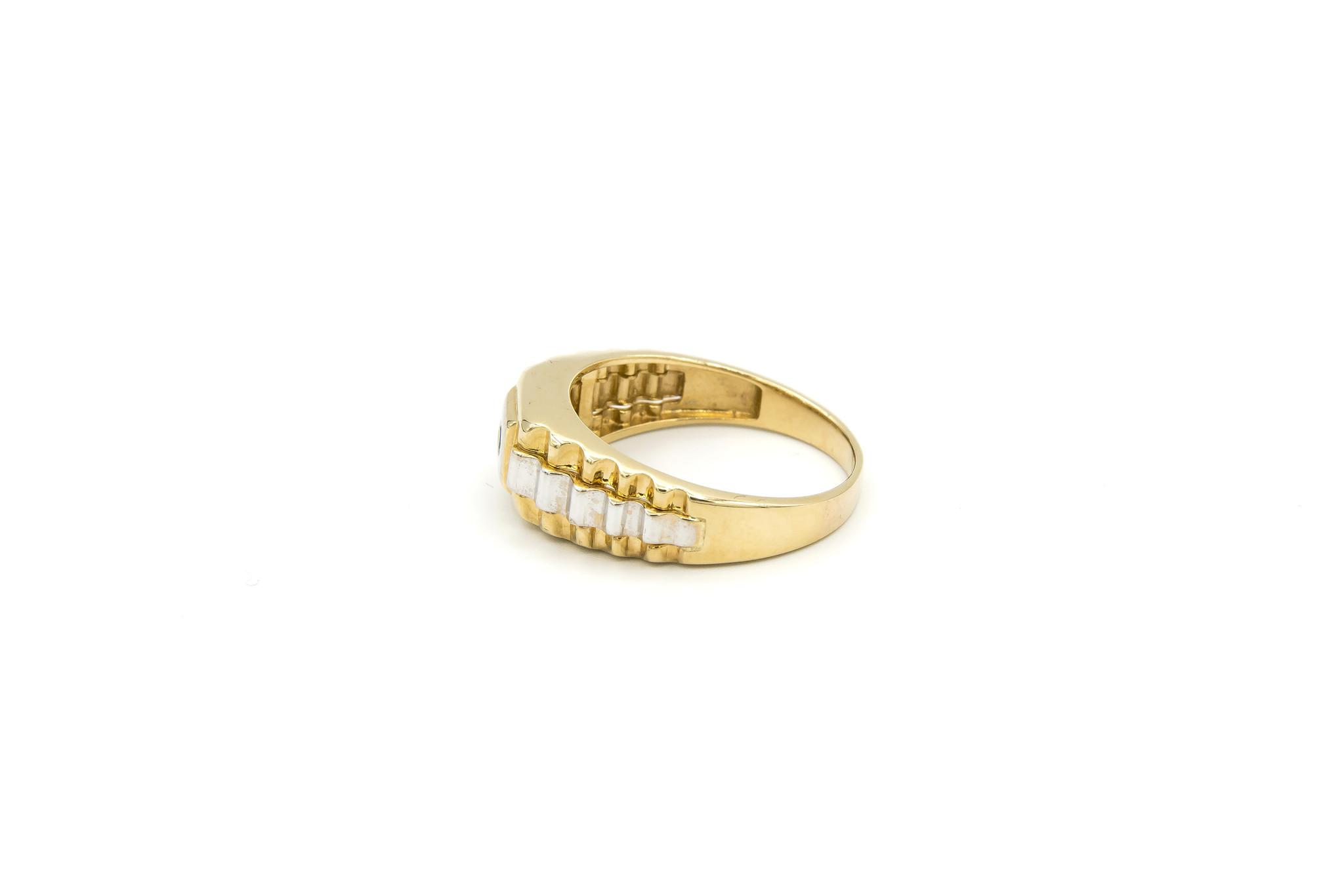 Ring zegel  wit- en geelgoud met zwarte punt-3
