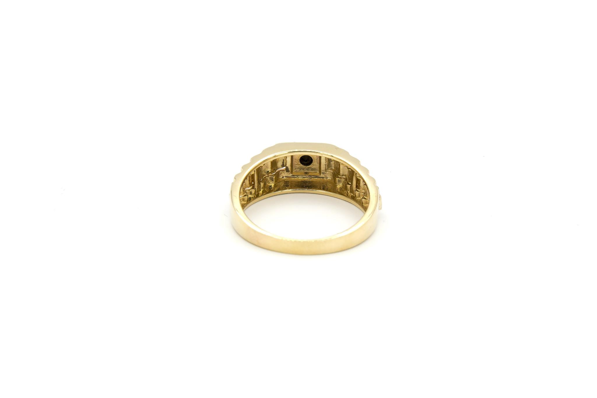Ring zegel  wit- en geelgoud met zwarte punt-4
