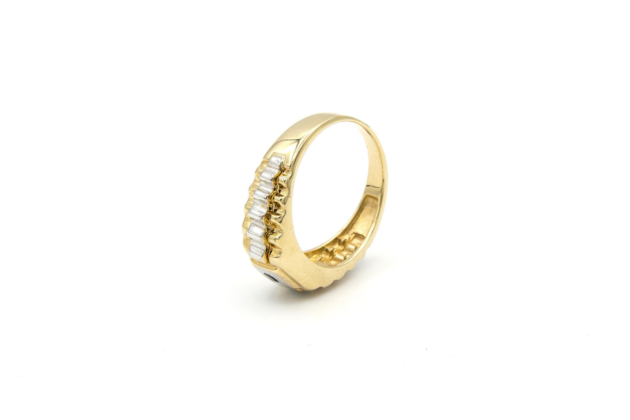 Ring zegel  wit- en geelgoud met zwarte punt-5