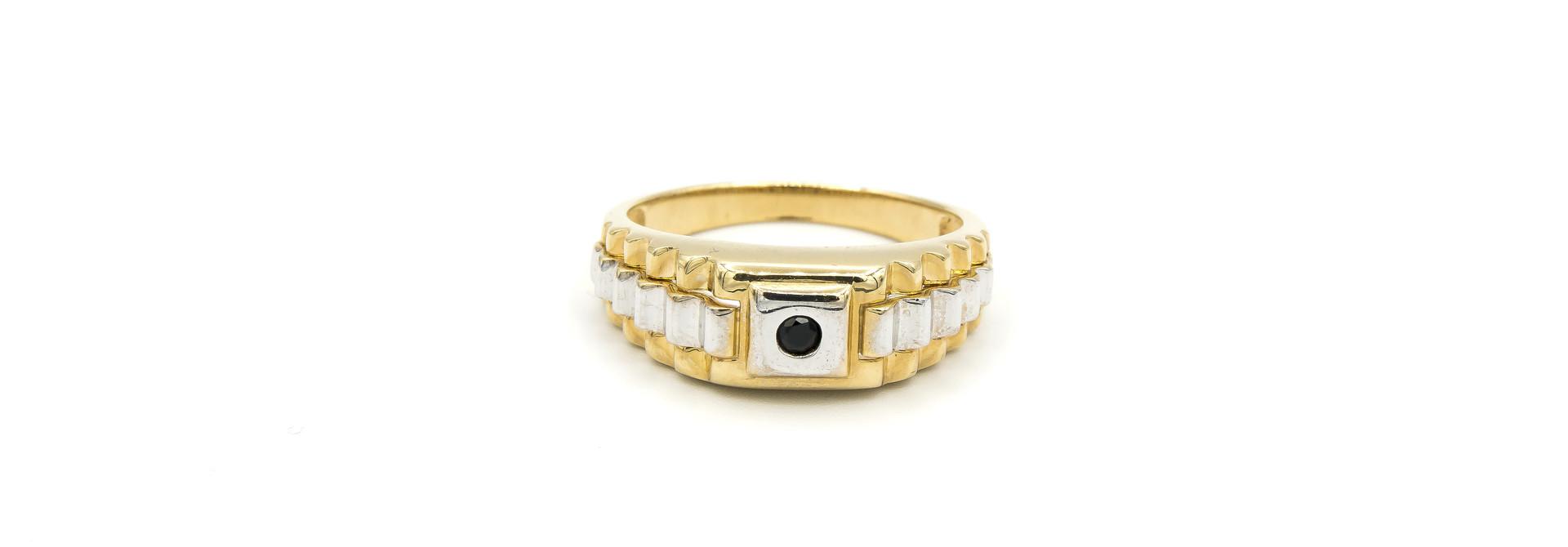 Ring zegel  wit- en geelgoud met zwarte punt