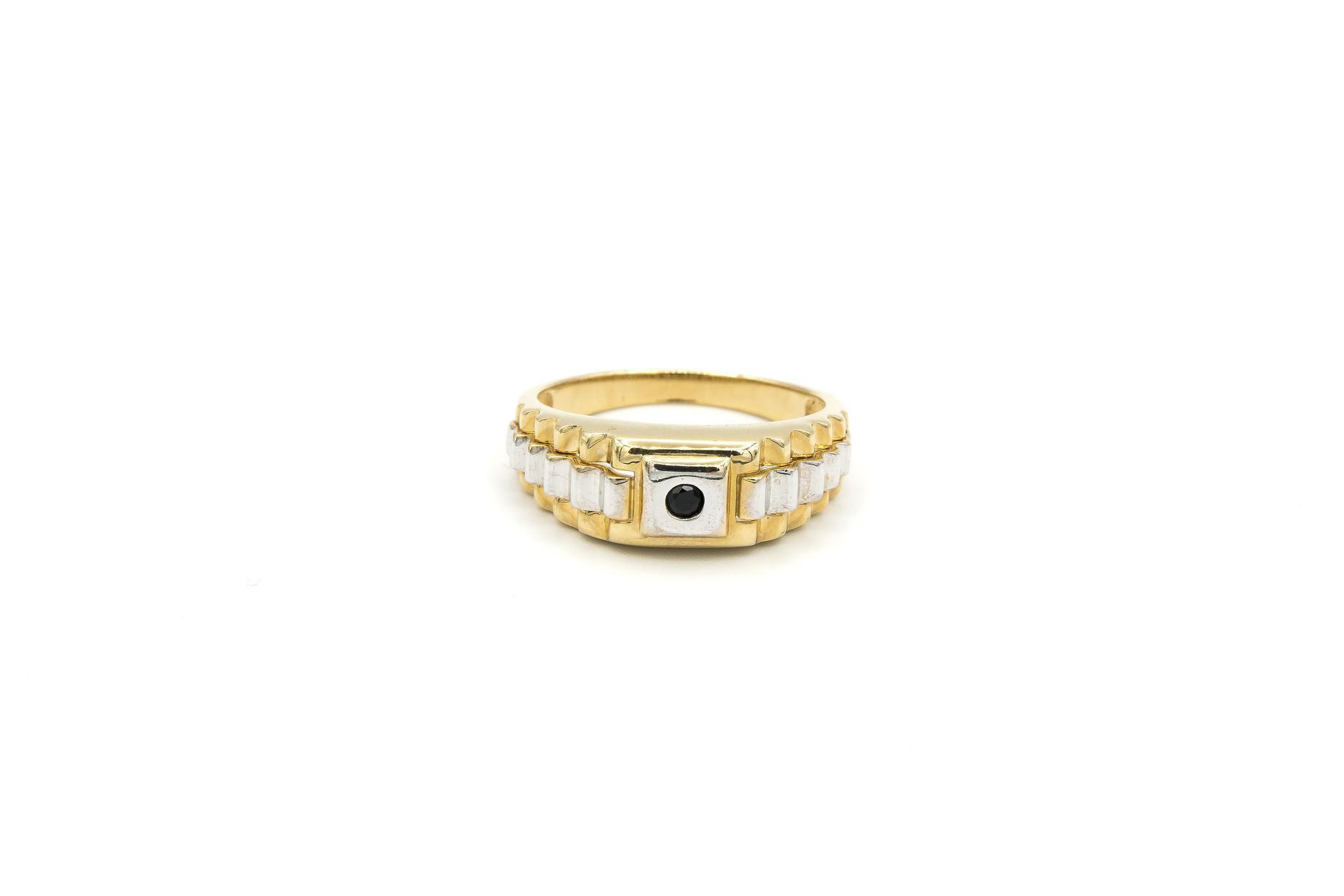 Ring zegel  wit- en geelgoud met zwarte punt-1