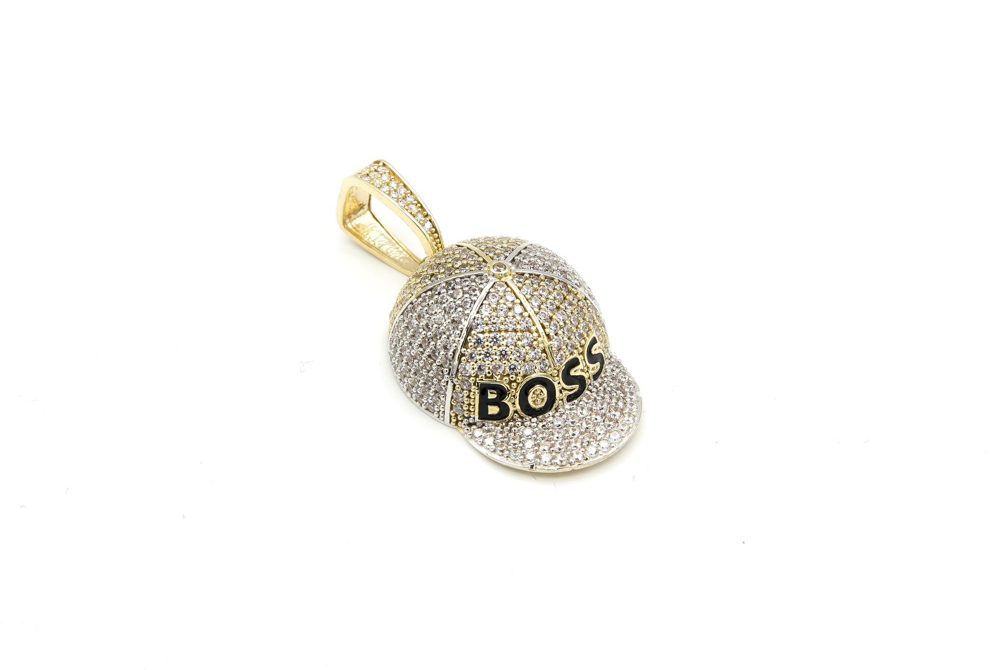 Hanger Petje Boss geelgoud met witte en zwarte steentjes-3