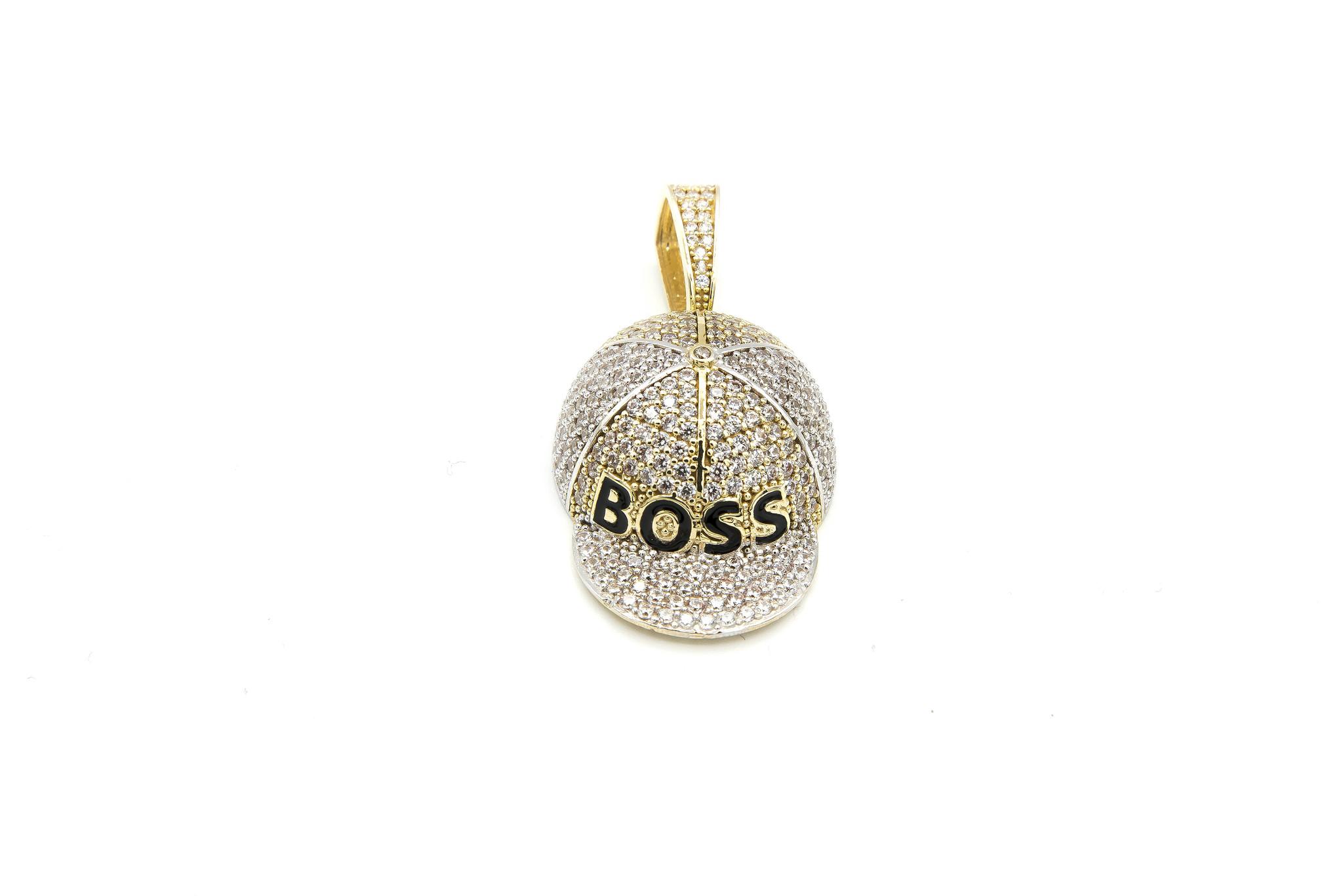 Hanger Petje Boss geelgoud met witte en zwarte steentjes-1