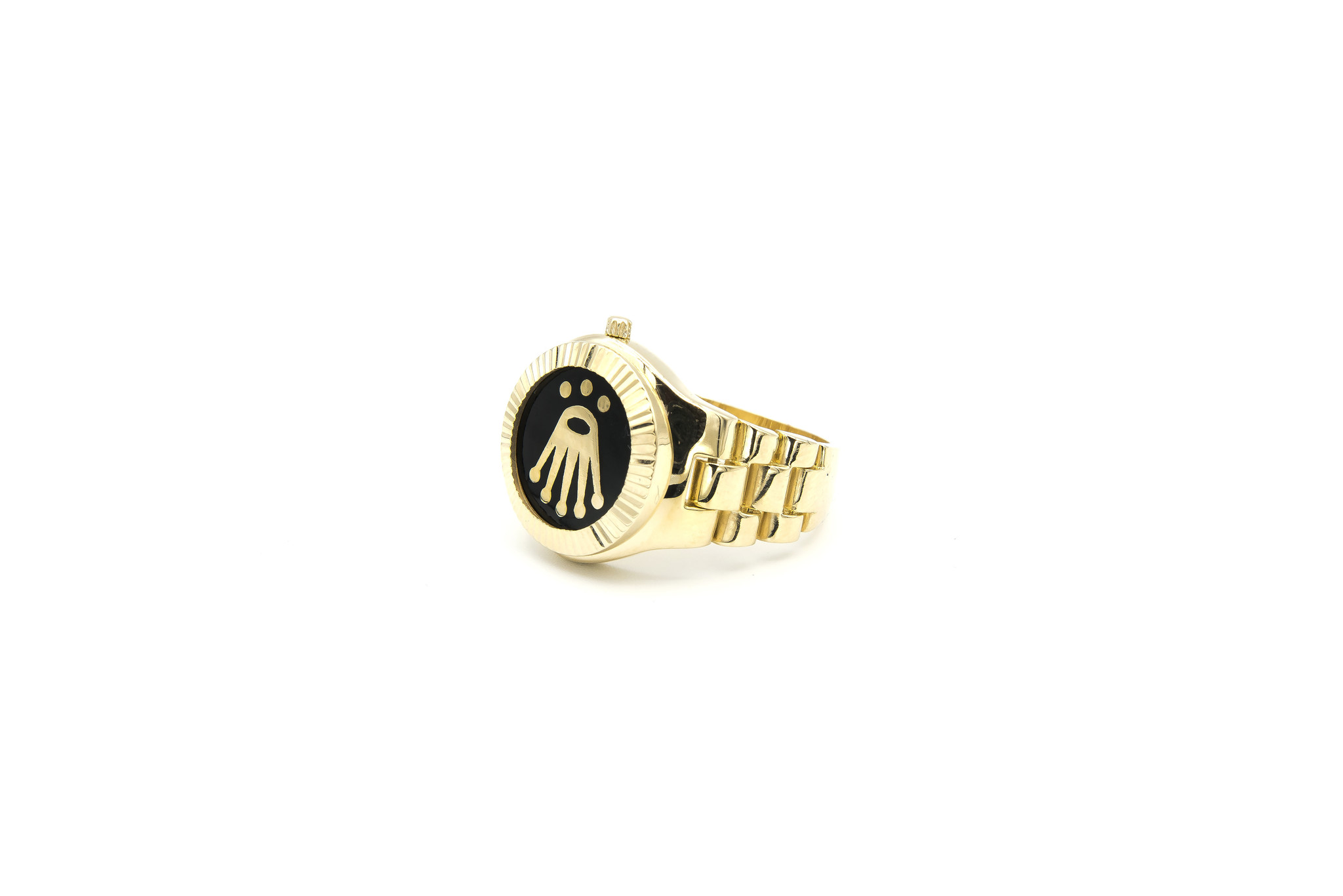 Ring horloge met kroon op zwarte achtergrond met flexibele zijkanten-3