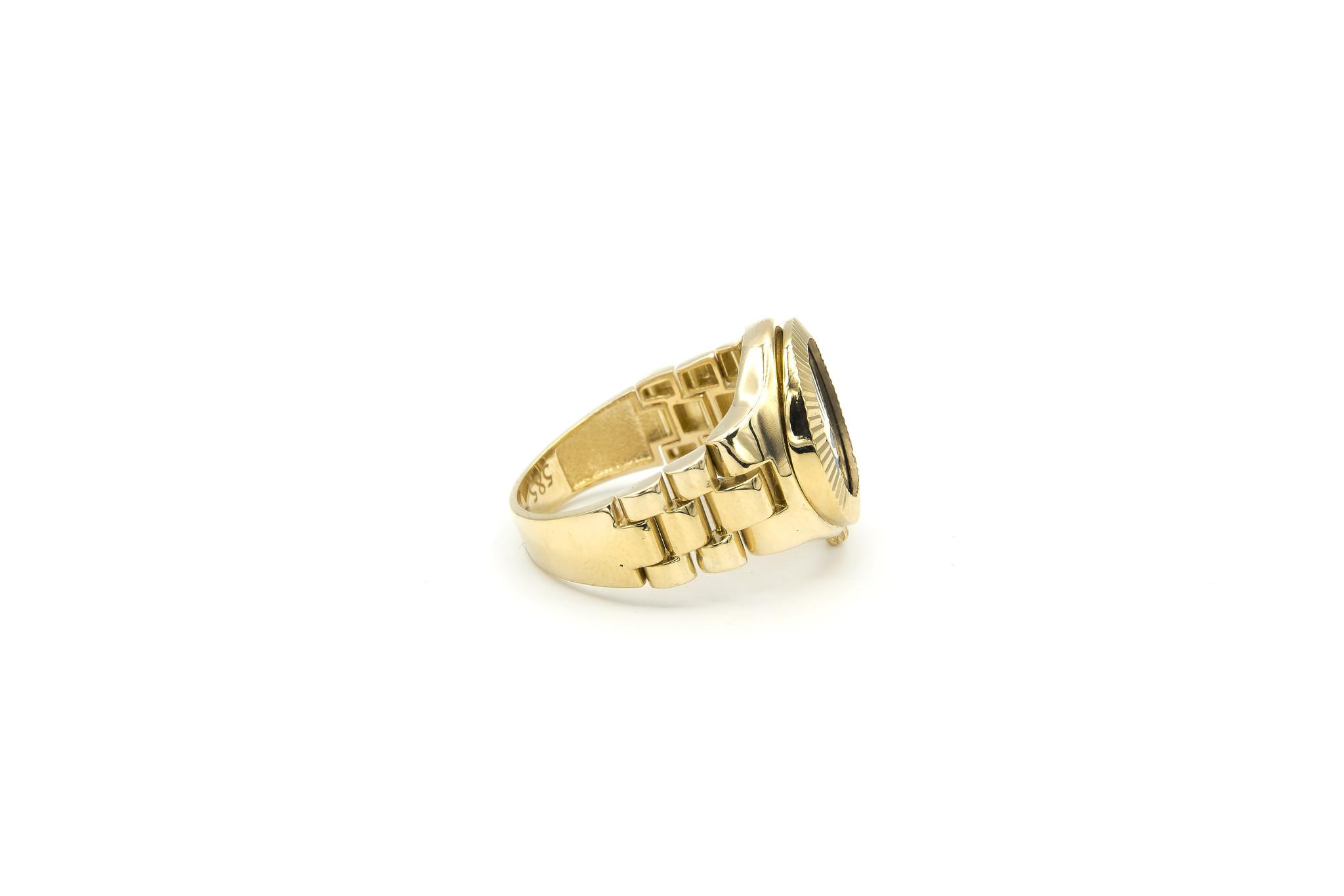 Ring horloge met kroon op zwarte achtergrond met flexibele zijkanten-4
