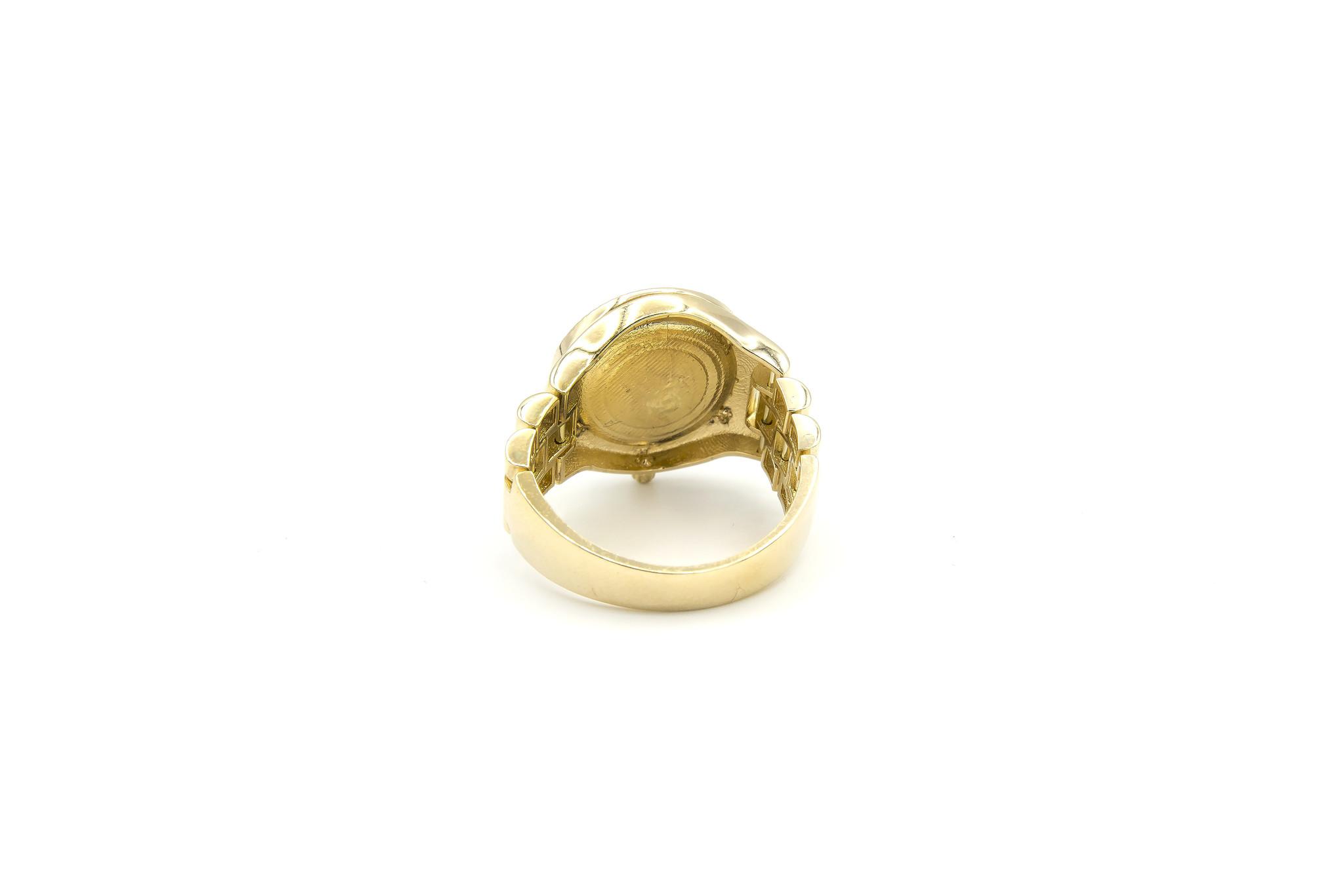 Ring horloge met kroon op zwarte achtergrond met flexibele zijkanten-5