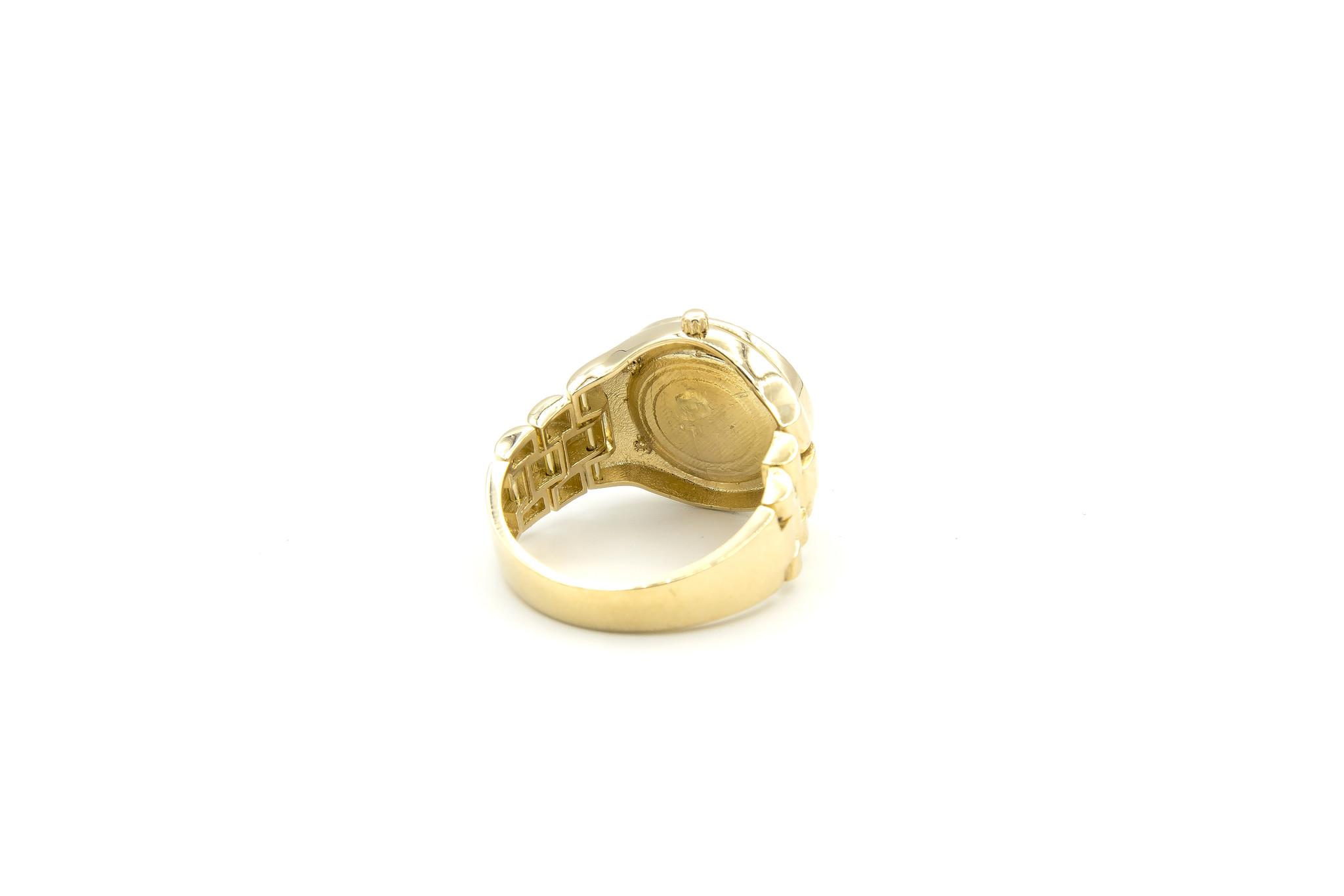 Ring horloge met kroon op zwarte achtergrond met flexibele zijkanten-7
