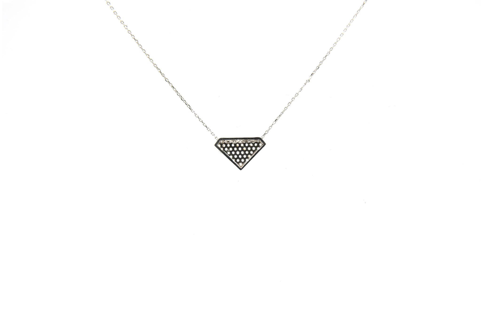 Ketting met vaste hanger diamantvorm witgoud-4