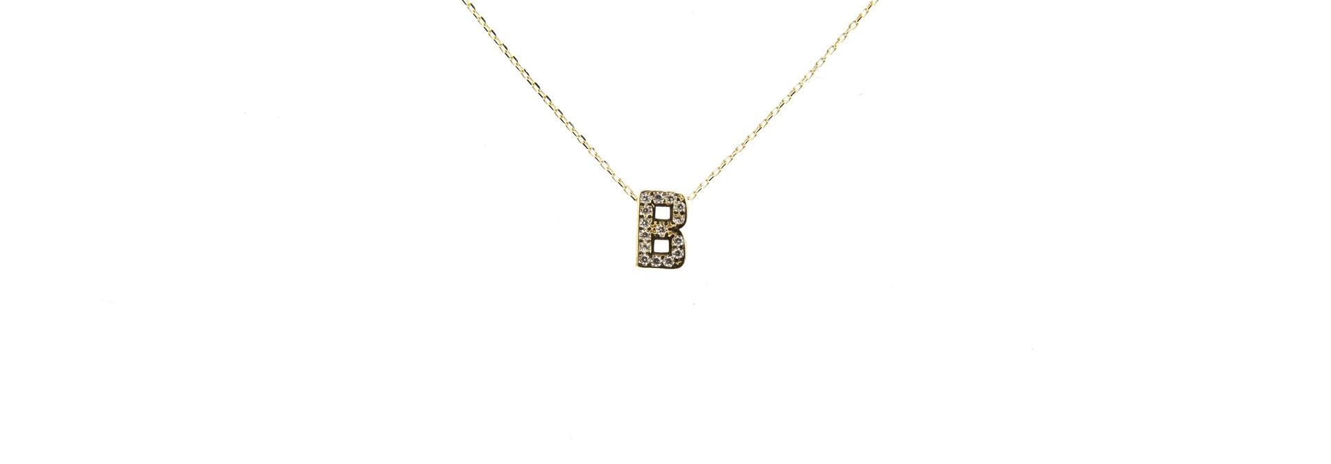 Ketting met vaste hanger letter B met zirkonia's