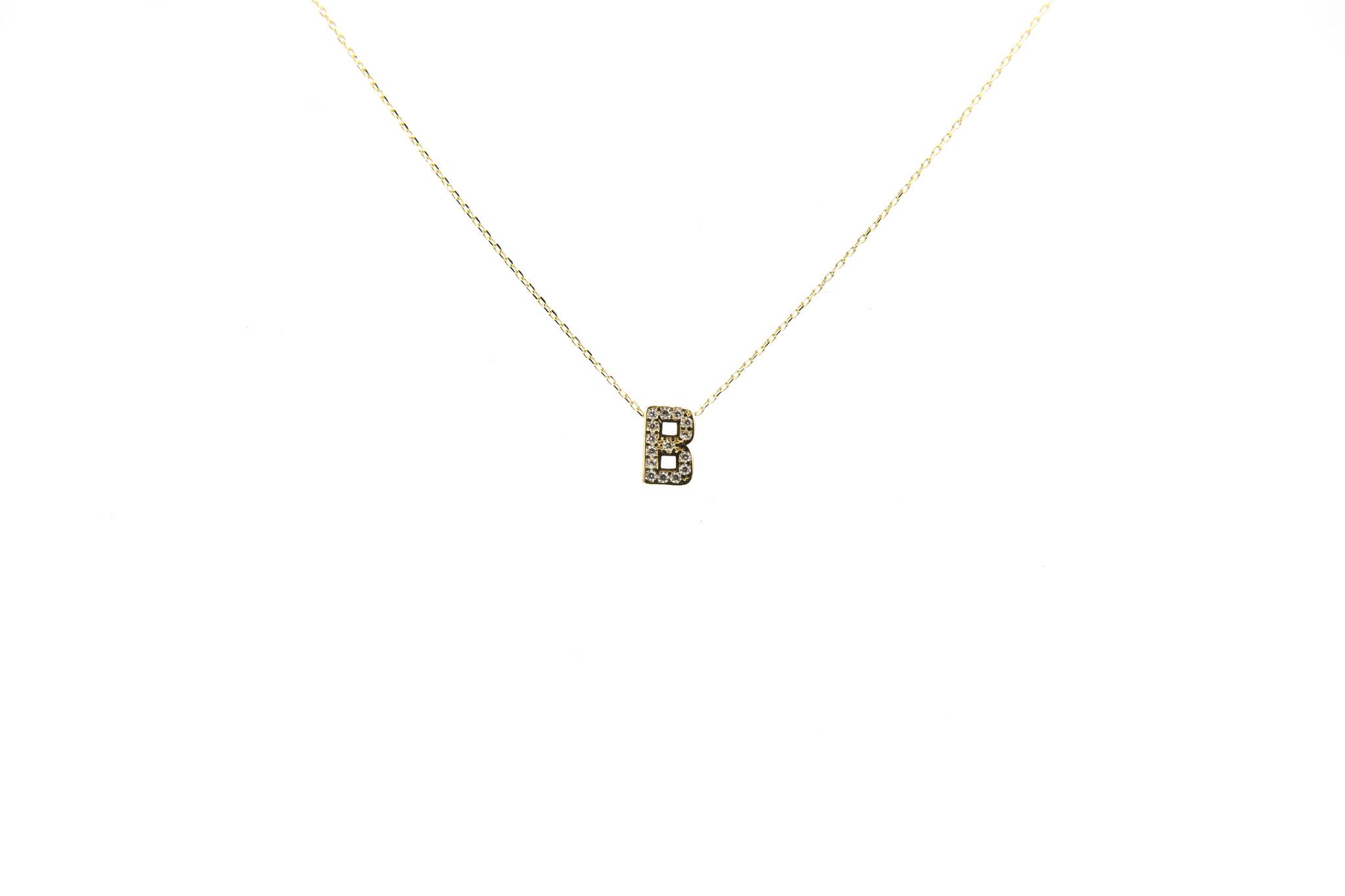 Ketting met vaste hanger letter B met zirkonia's-1