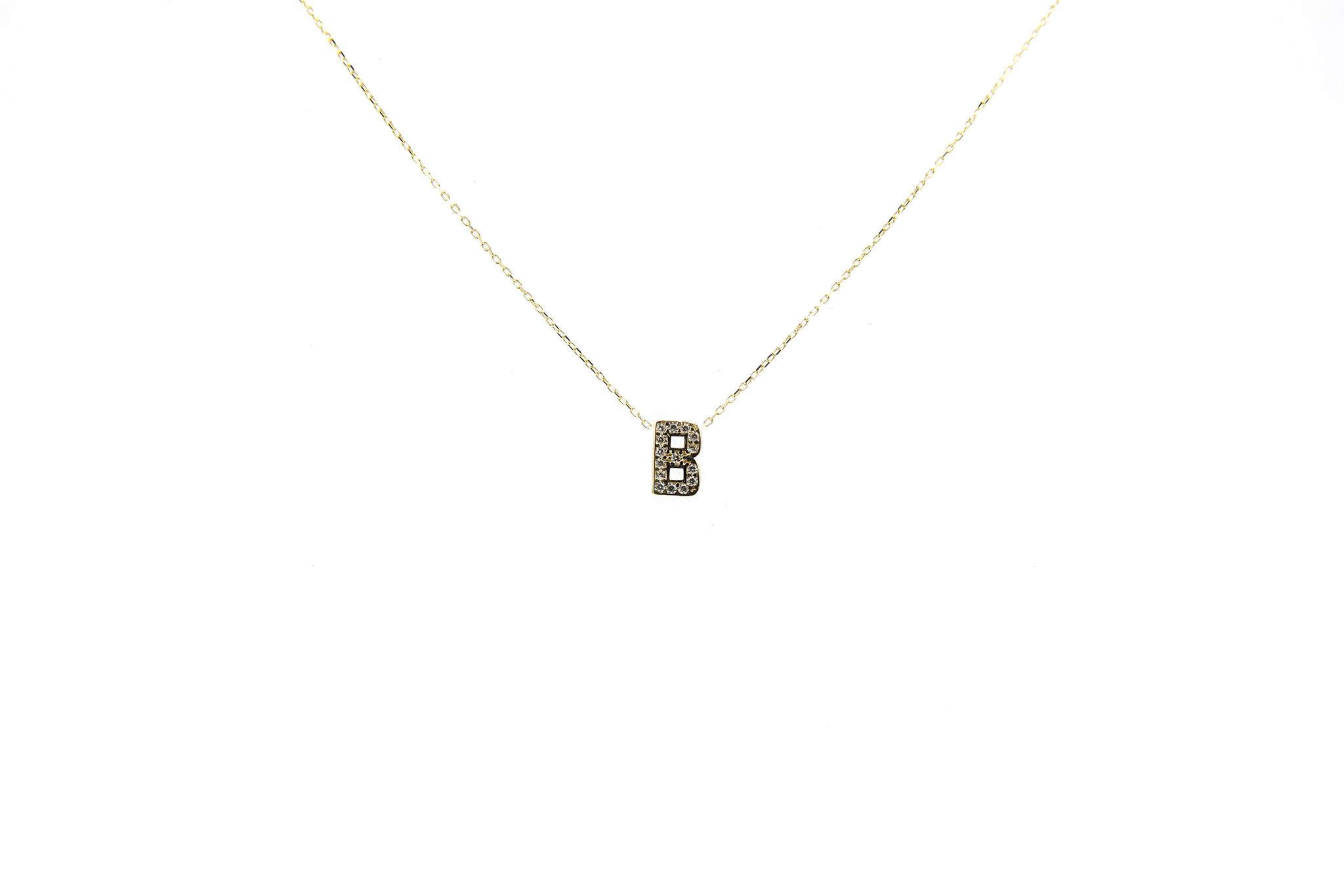 Ketting met vaste hanger letter B met zirkonia's-2