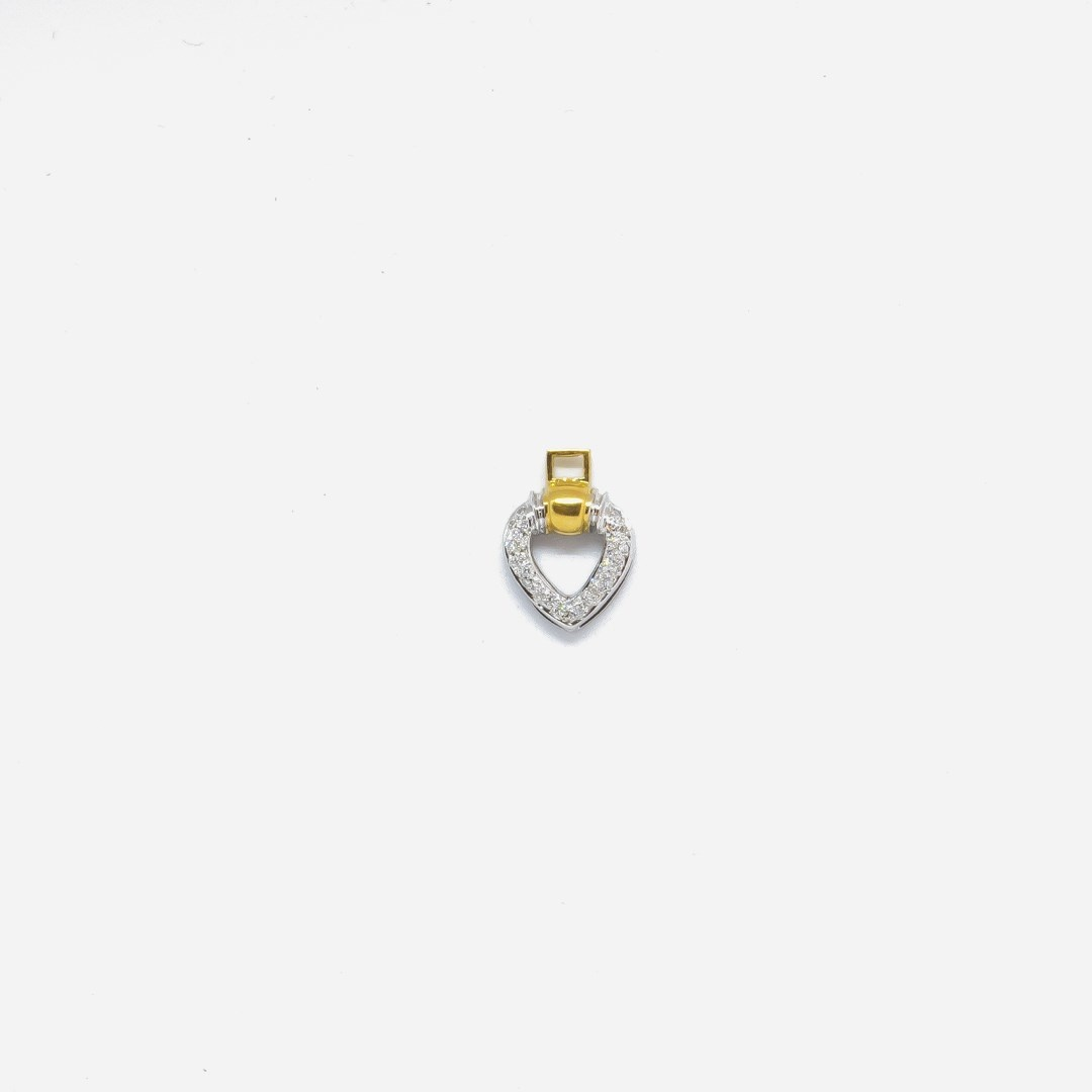 Hanger hartje met diamant bicolor-2
