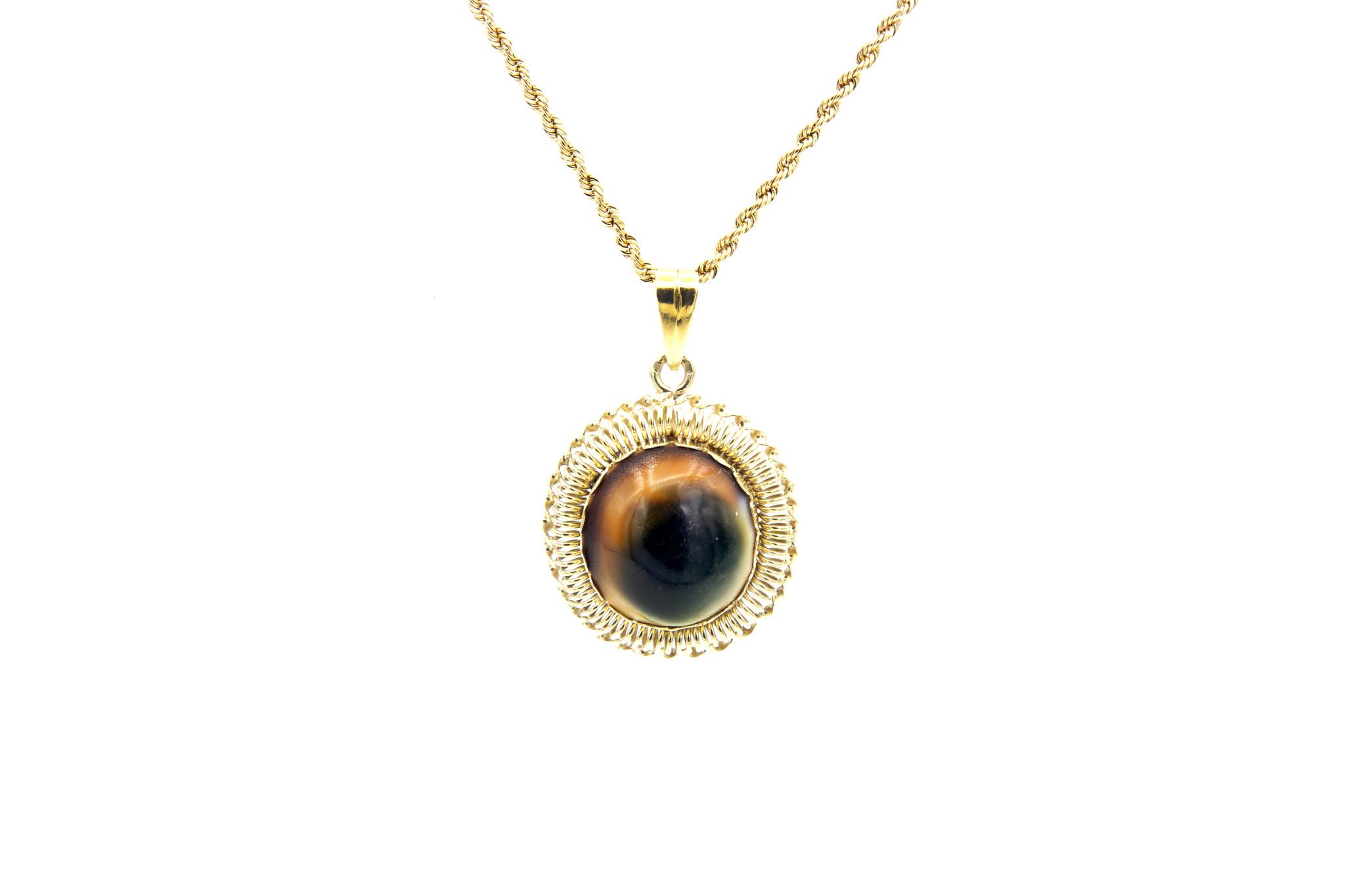 Hanger met ovale meerkleurige steen-1