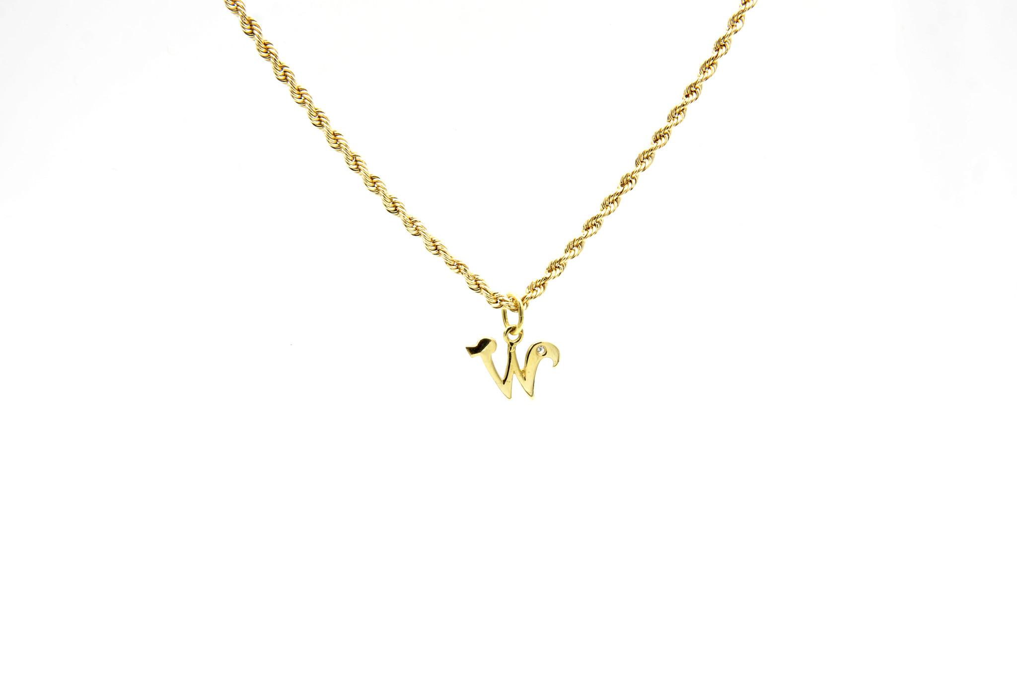 Hanger met letter W met diamantje-2