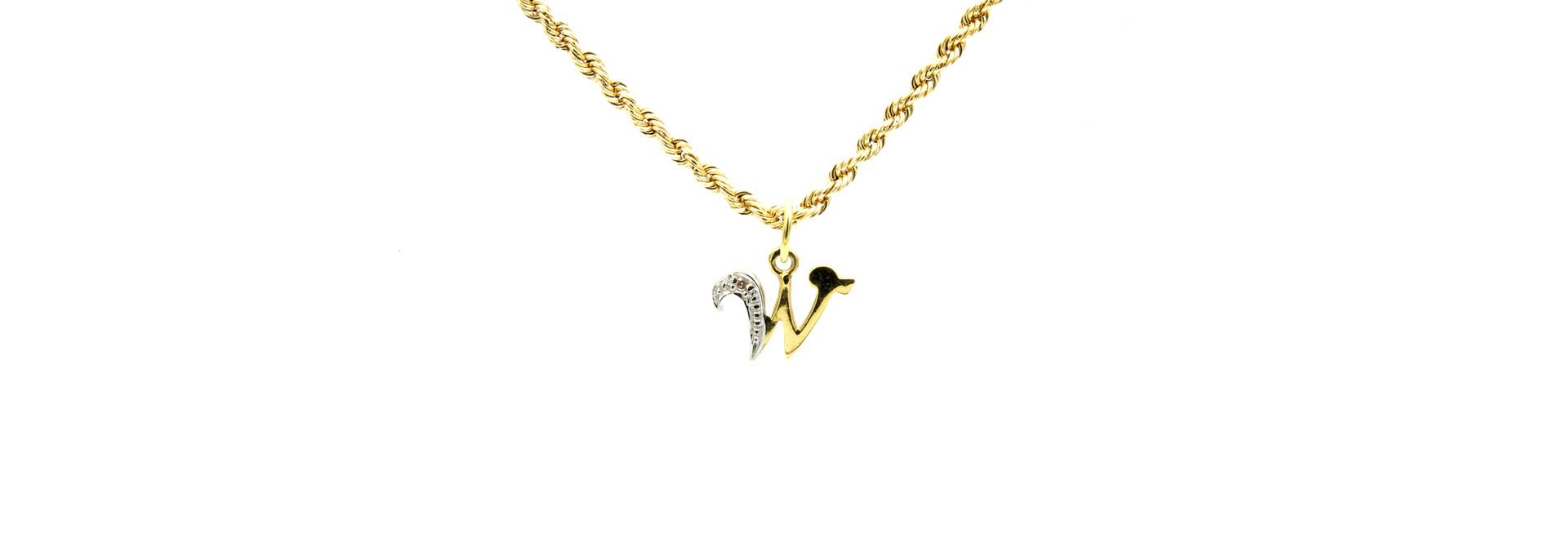 Hanger met letter W met diamantje