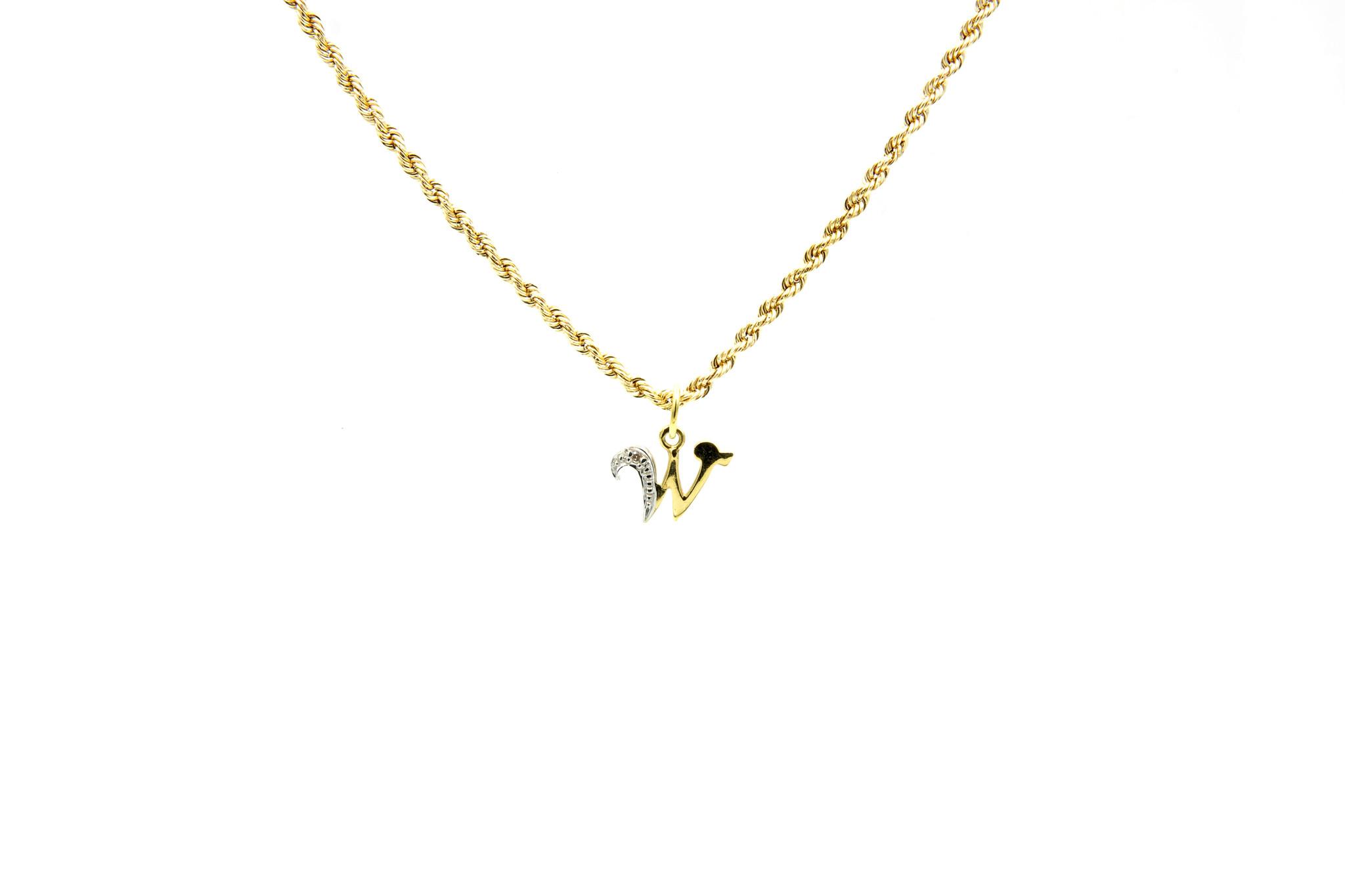 Hanger met letter W met diamantje-1