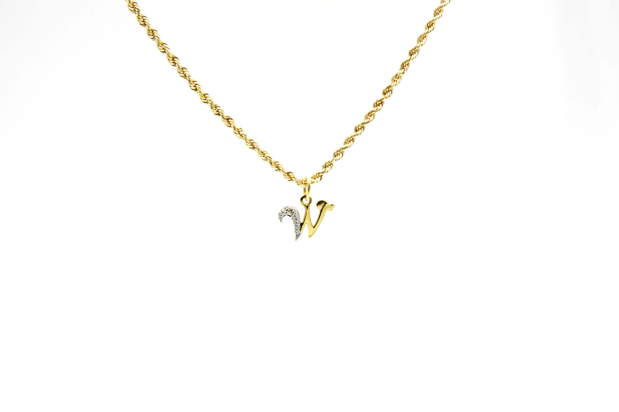 Hanger met letter W met diamantje-3