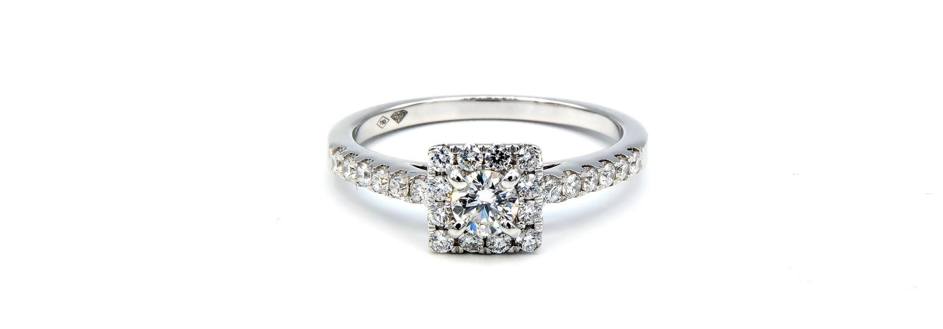 Ring verlovingsring witgoud met 0,2 ct SI en 0,28 ct VS diamant