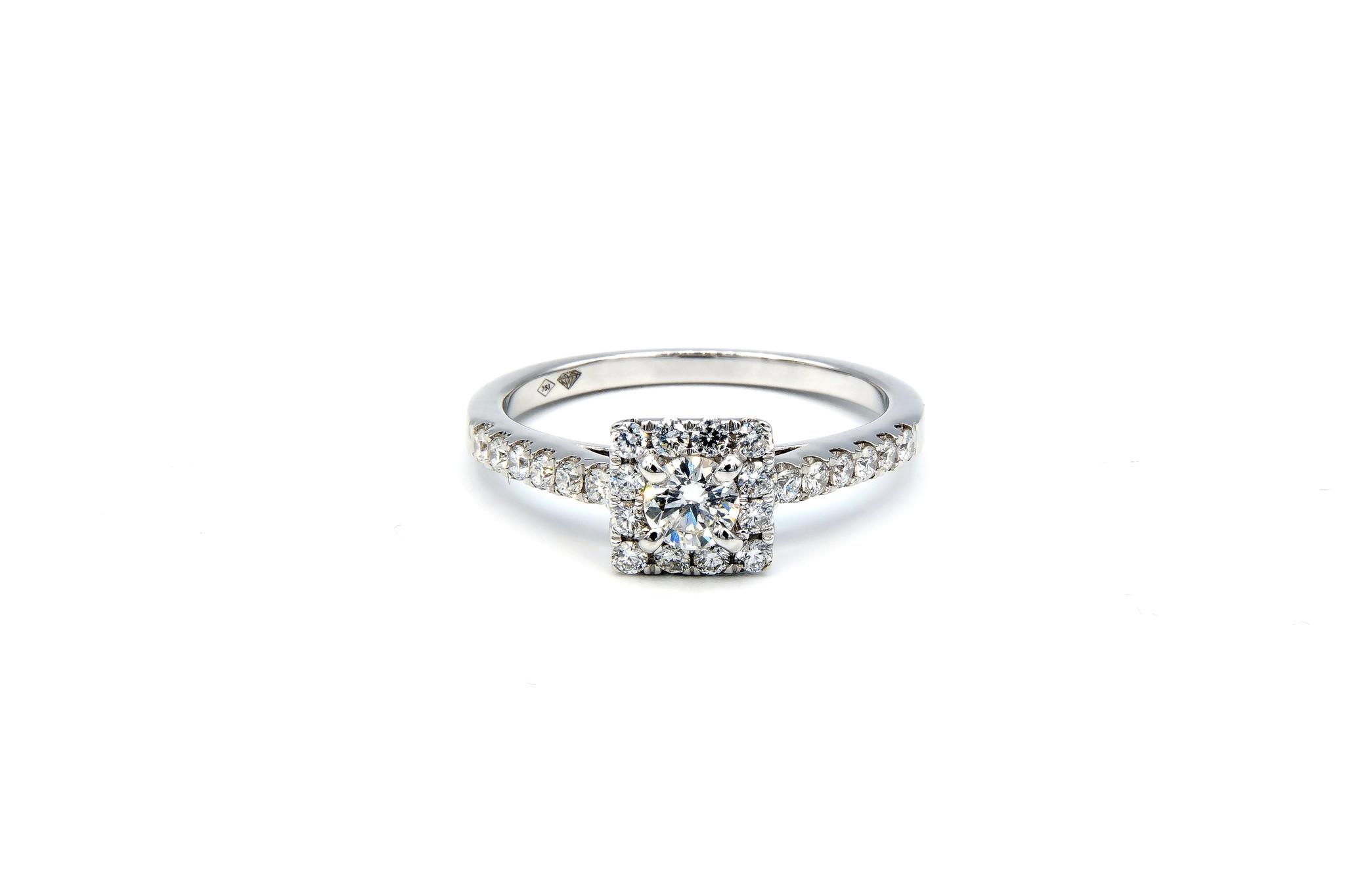 Ring verlovingsring witgoud met 0,2 ct SI en 0,28 ct VS diamant-1