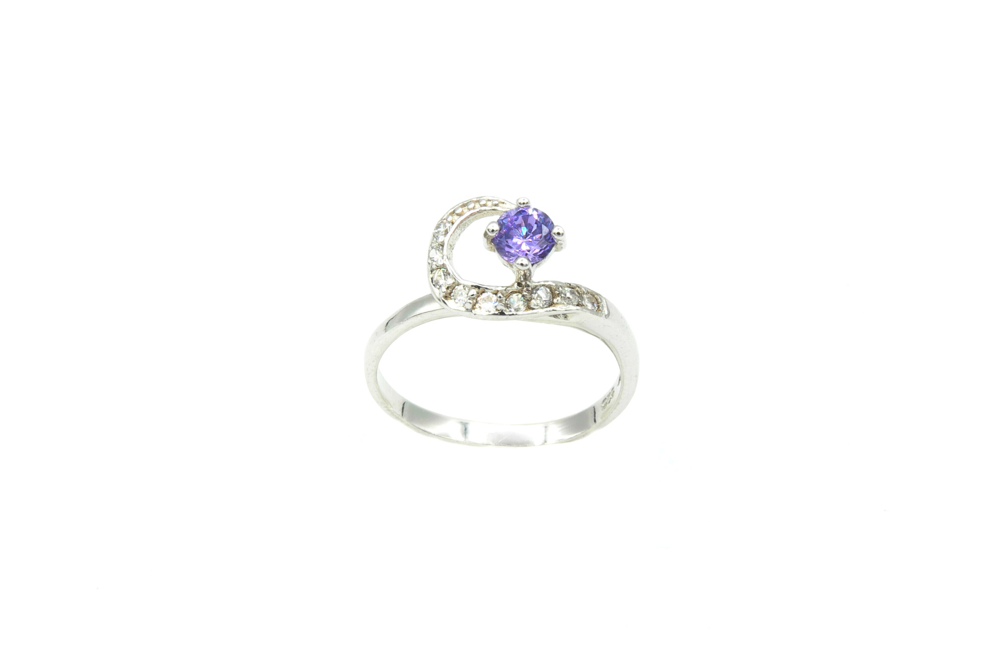 Ring verlovingsring lusje ingezet met zirkonia's en paarse steen zilver-4