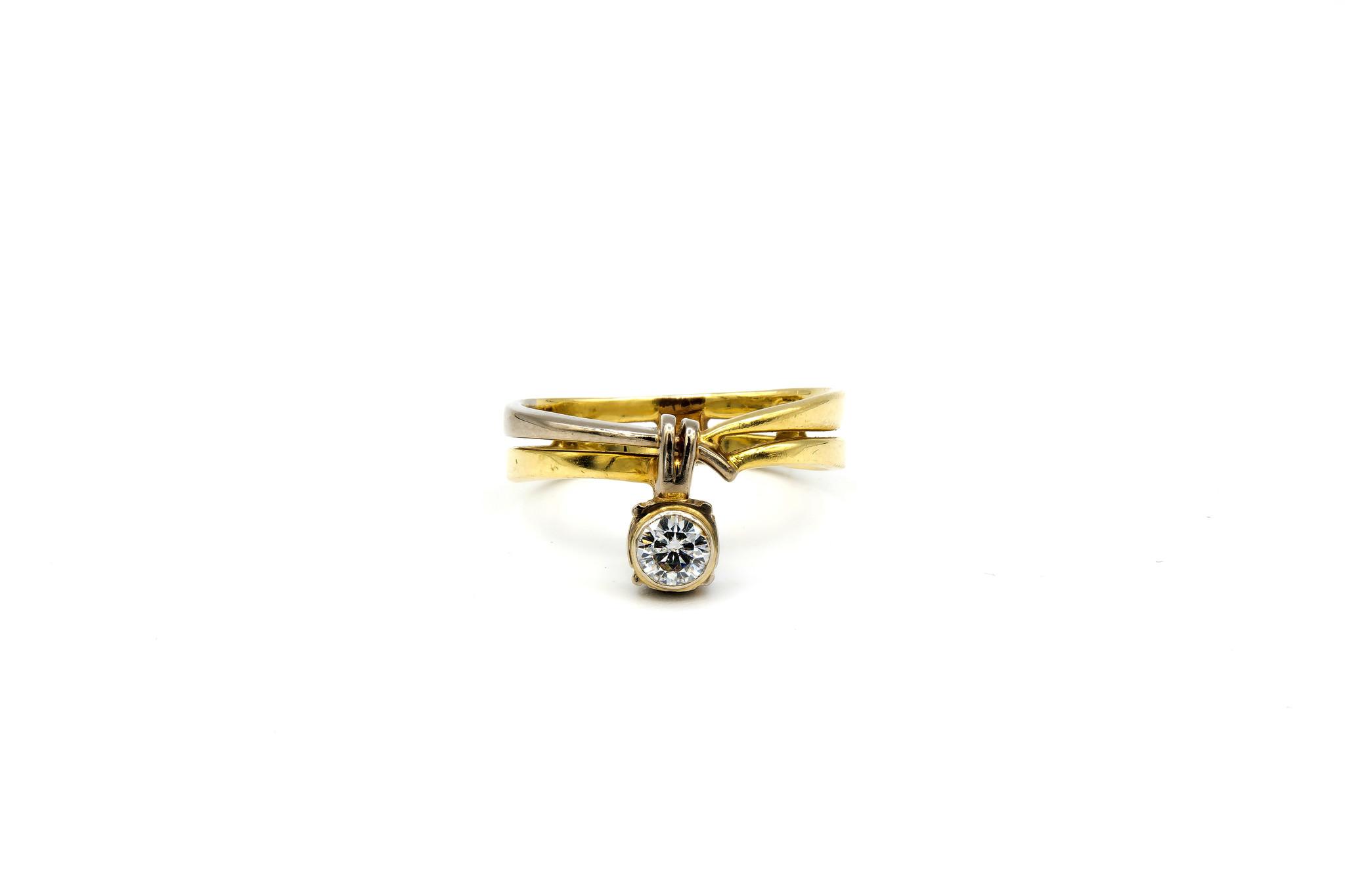 Ring verlovingsring bicolor dubbele rand met zirkonia aan de zijkant bicolor-1