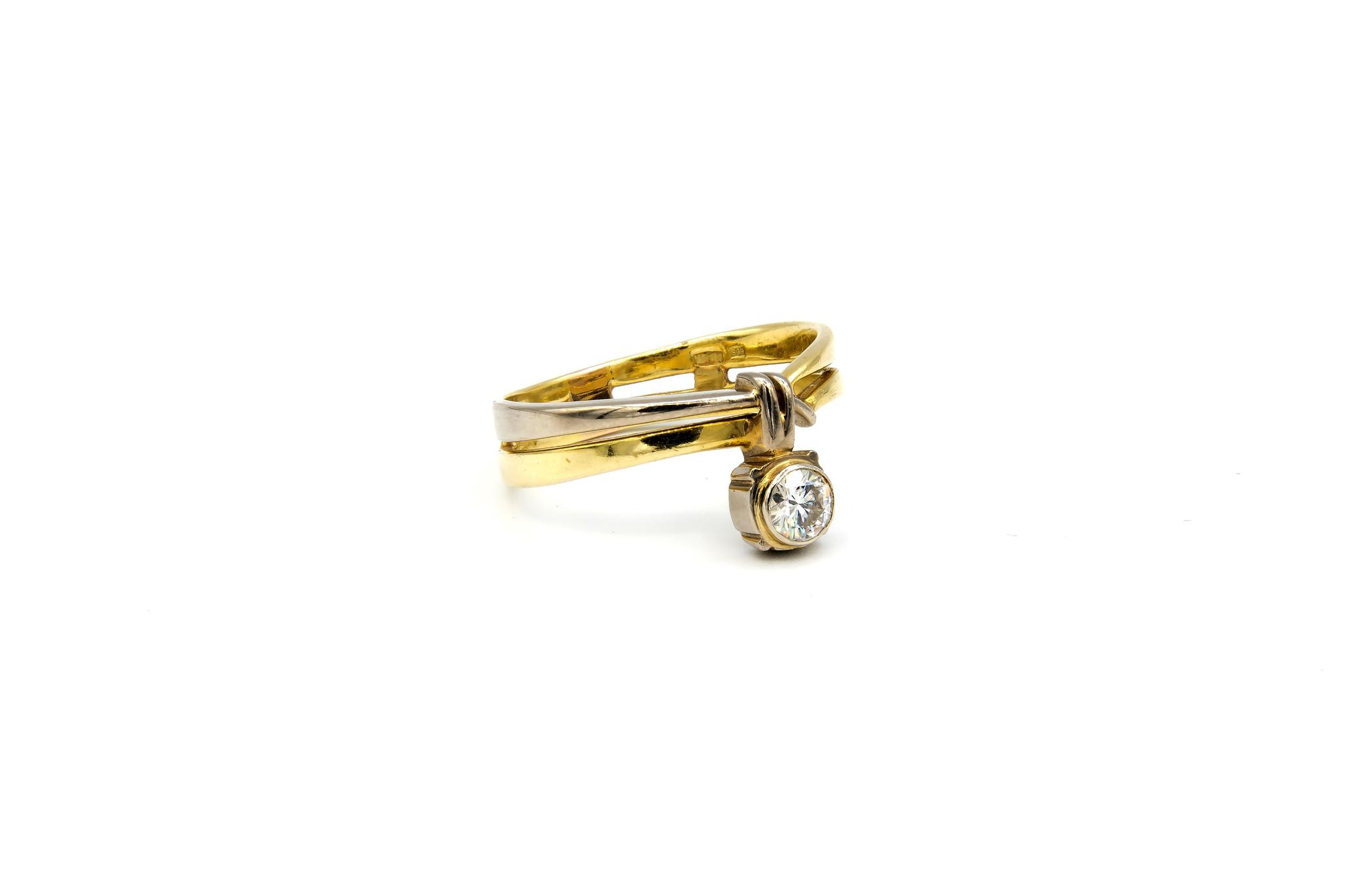 Ring verlovingsring bicolor dubbele rand met zirkonia aan de zijkant bicolor-3