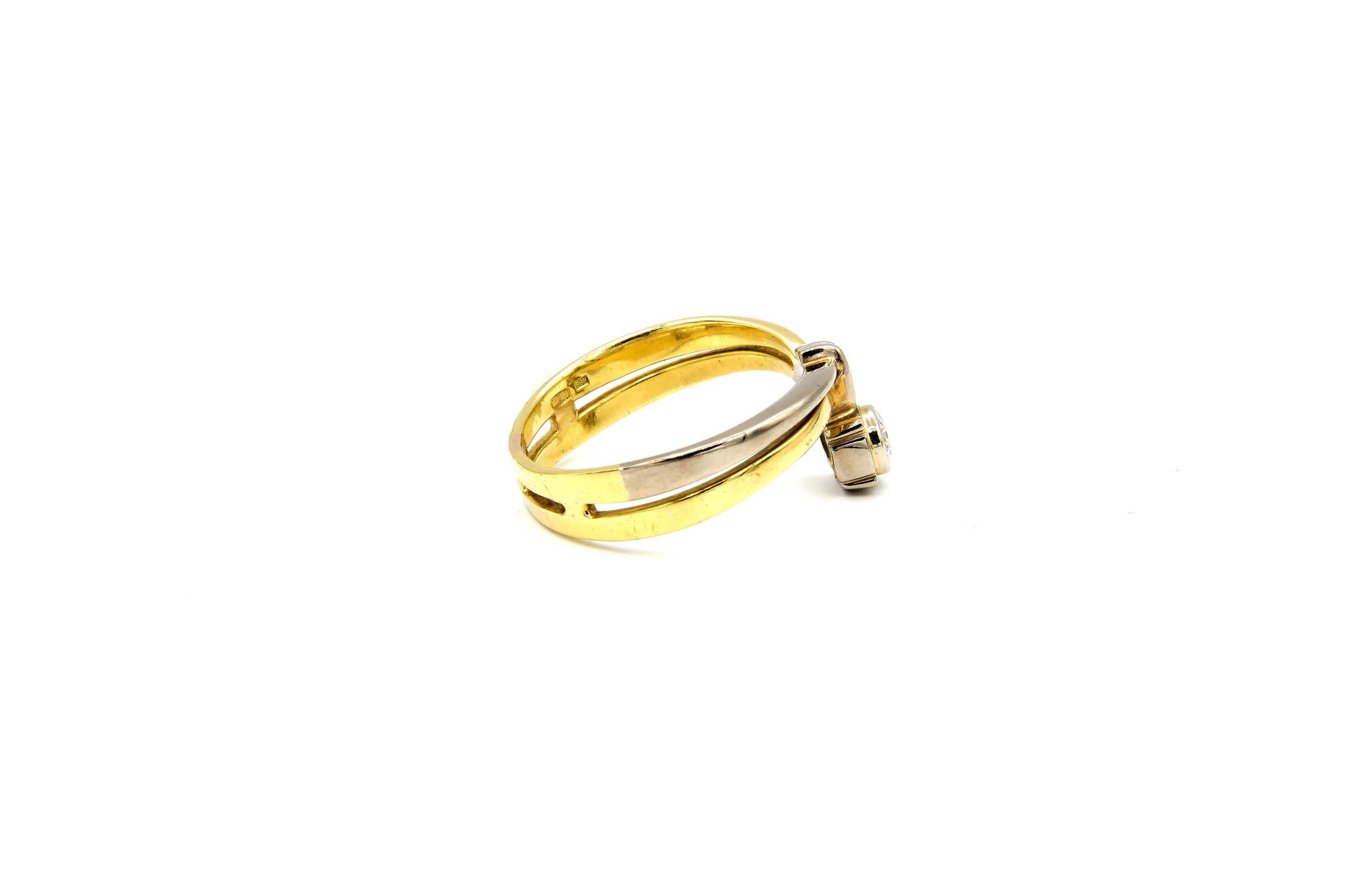 Ring verlovingsring bicolor dubbele rand met zirkonia aan de zijkant bicolor-4