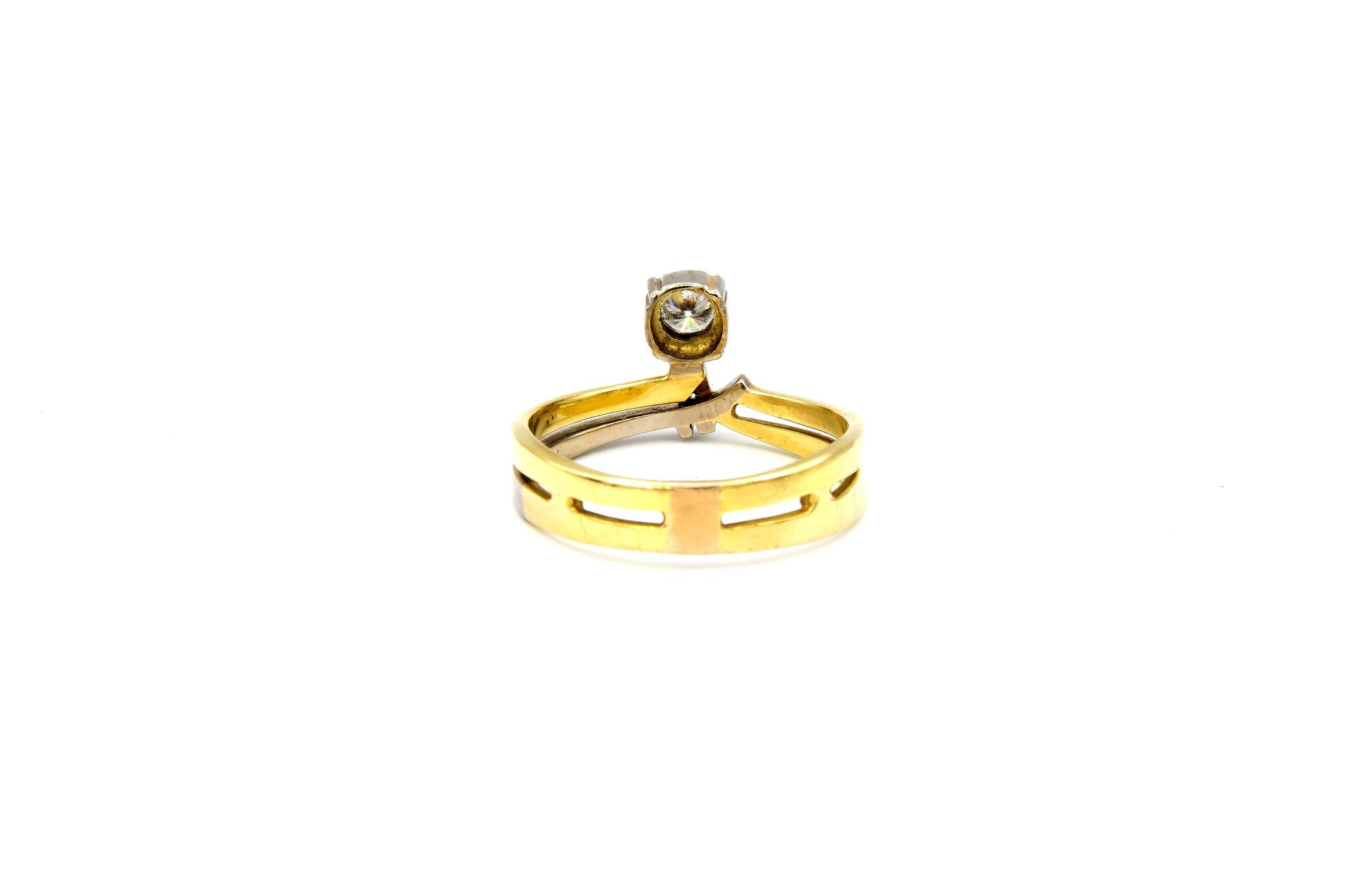 Ring verlovingsring bicolor dubbele rand met zirkonia aan de zijkant bicolor-5