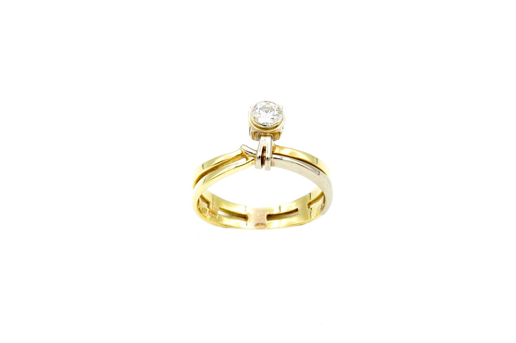 Ring verlovingsring bicolor dubbele rand met zirkonia aan de zijkant bicolor-2