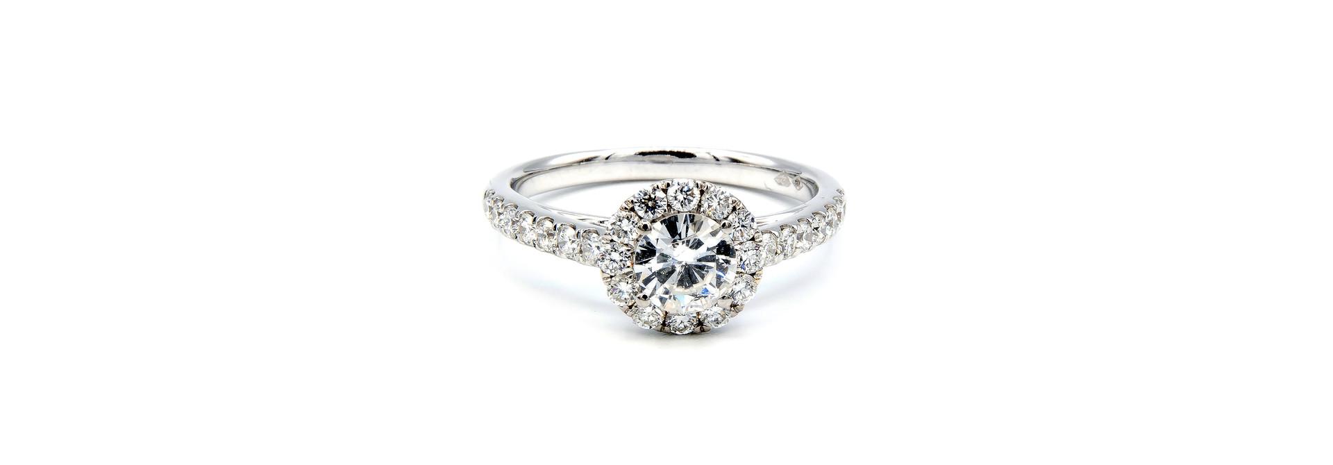 Ring verlovingsring witgoud met 0,5 ct SI en 0,59 ct VS diamant