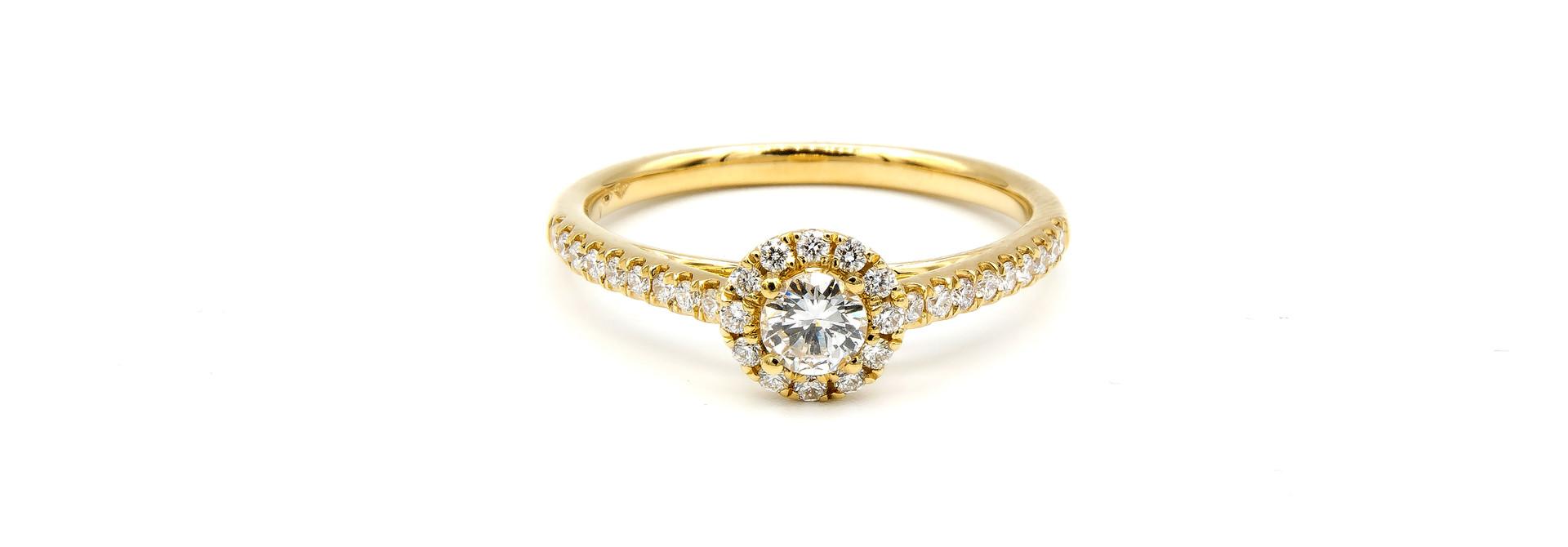 Ring verlovingsring met 0,3 ct VS en 0,26 ct VS diamant