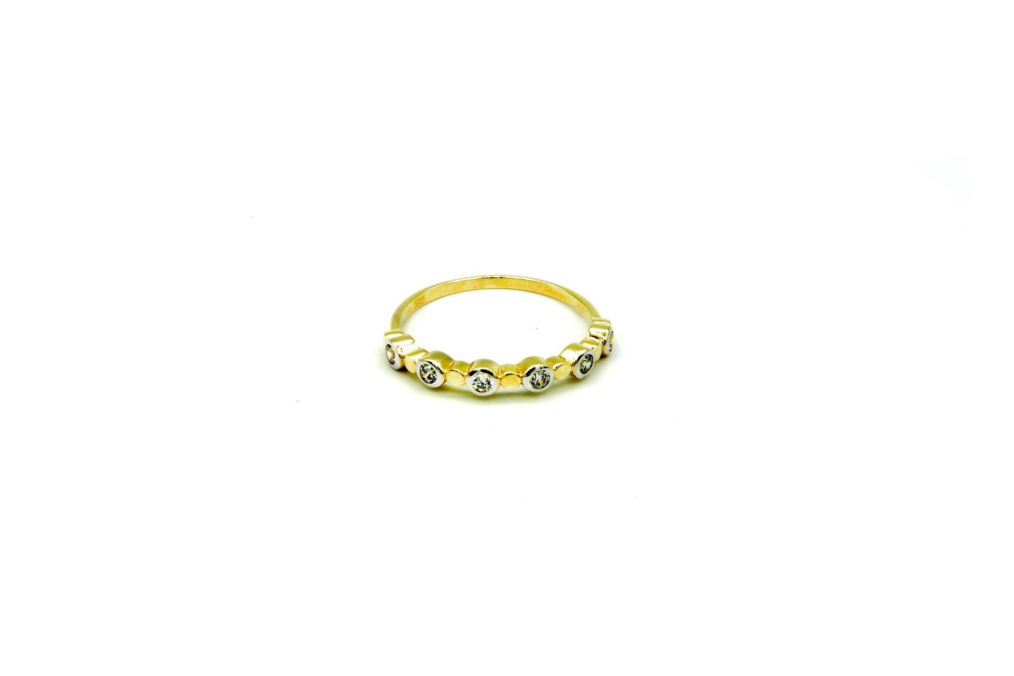 Ring met zirkonia's in rondjes bicolor-1