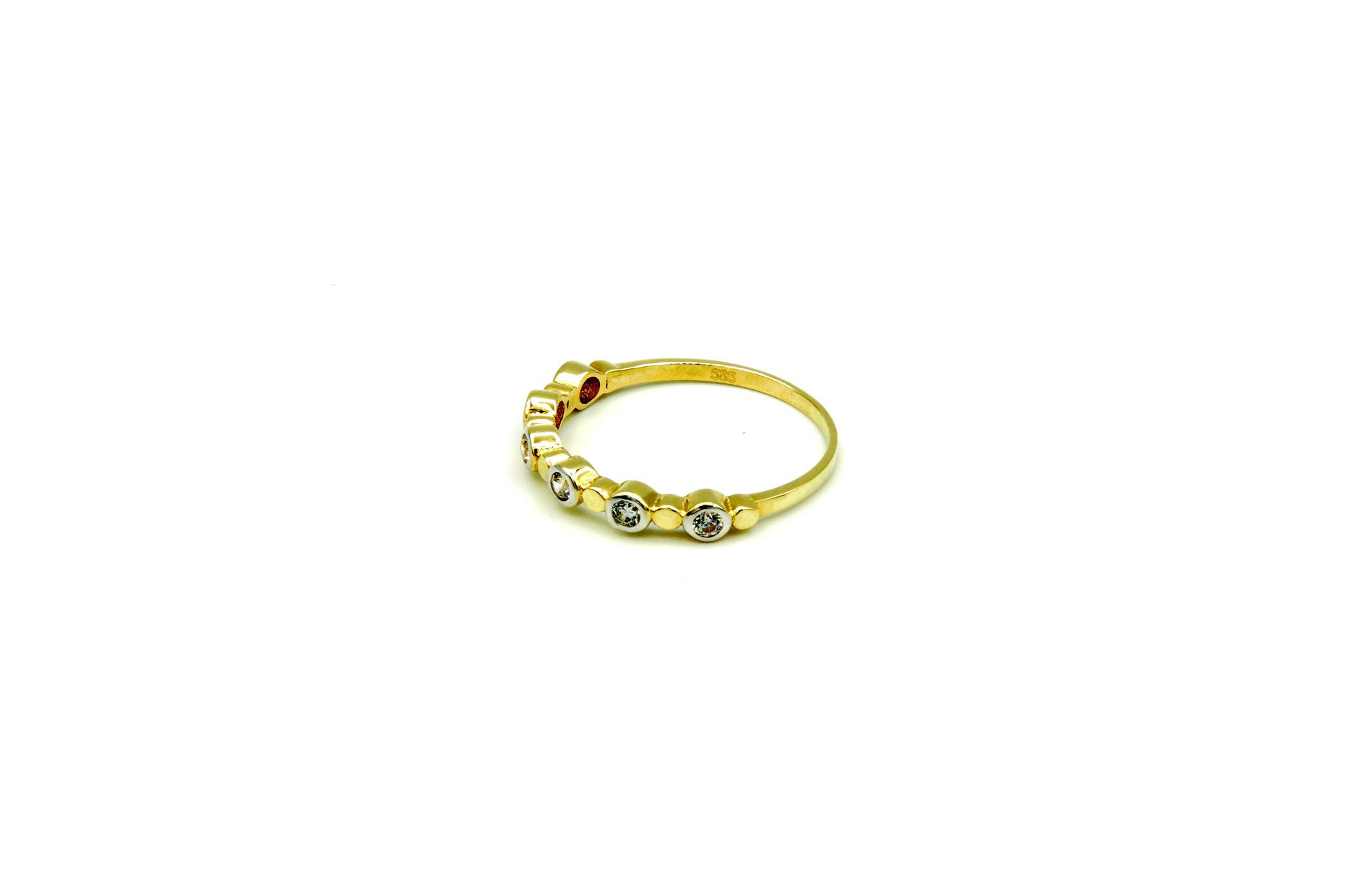 Ring met zirkonia's in rondjes bicolor-2