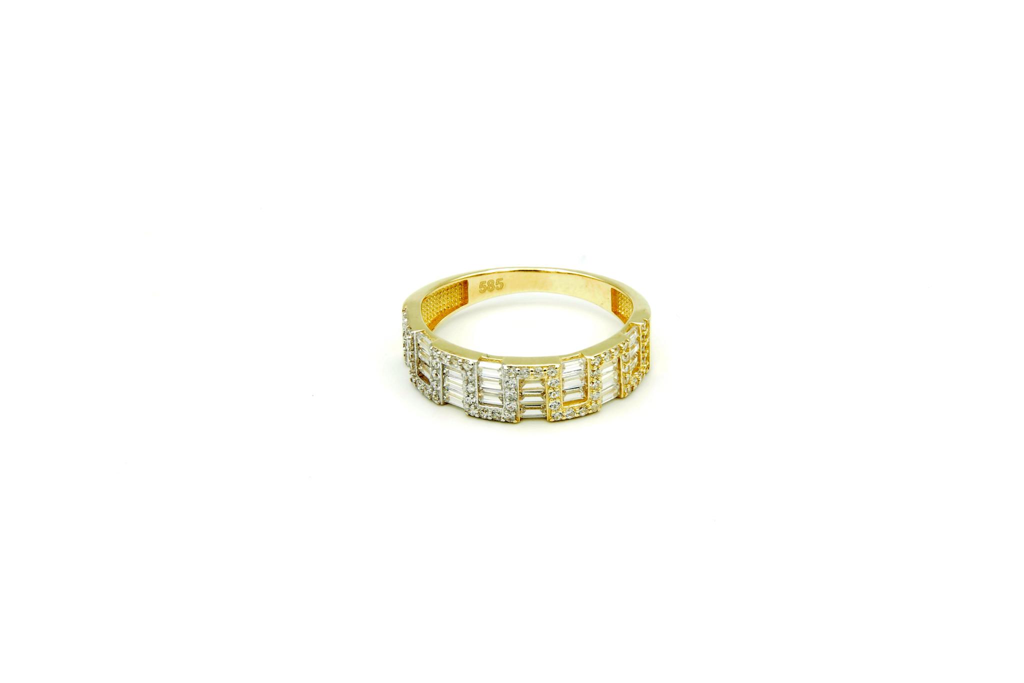 Ring met kantelen en langwerpige zirkonia's bicolor-1