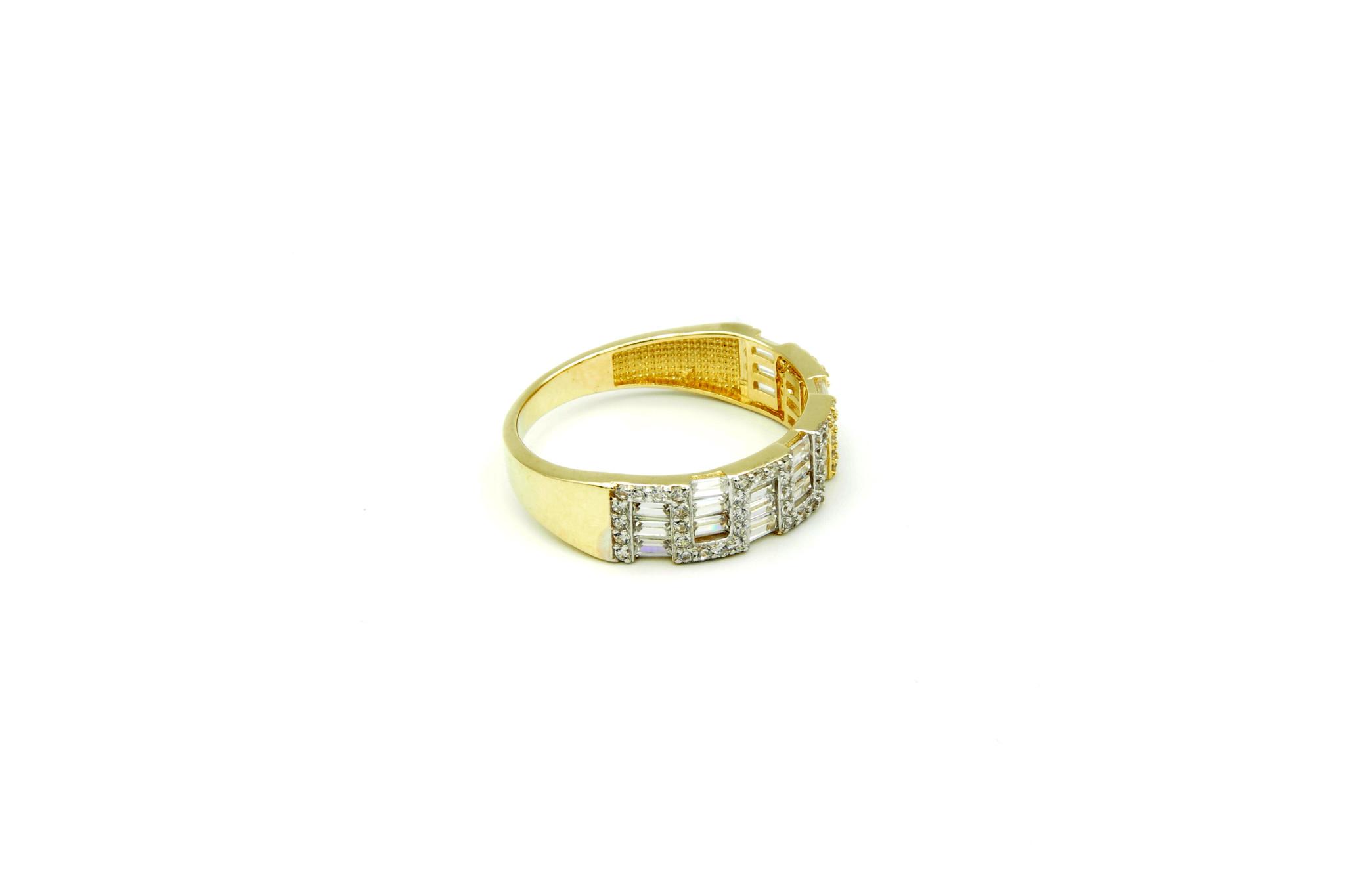 Ring met kantelen en langwerpige zirkonia's bicolor-3