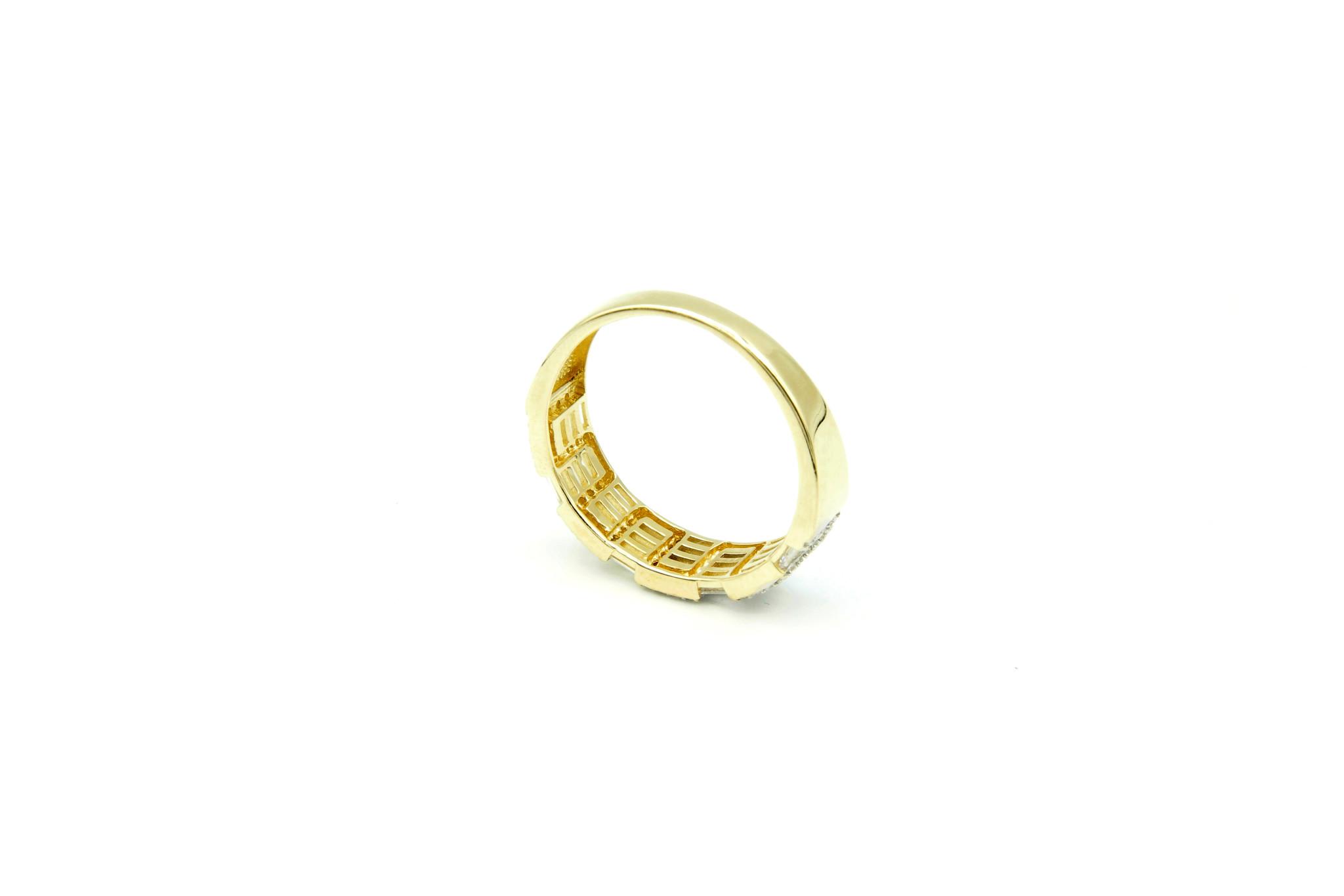 Ring met kantelen en langwerpige zirkonia's bicolor-5