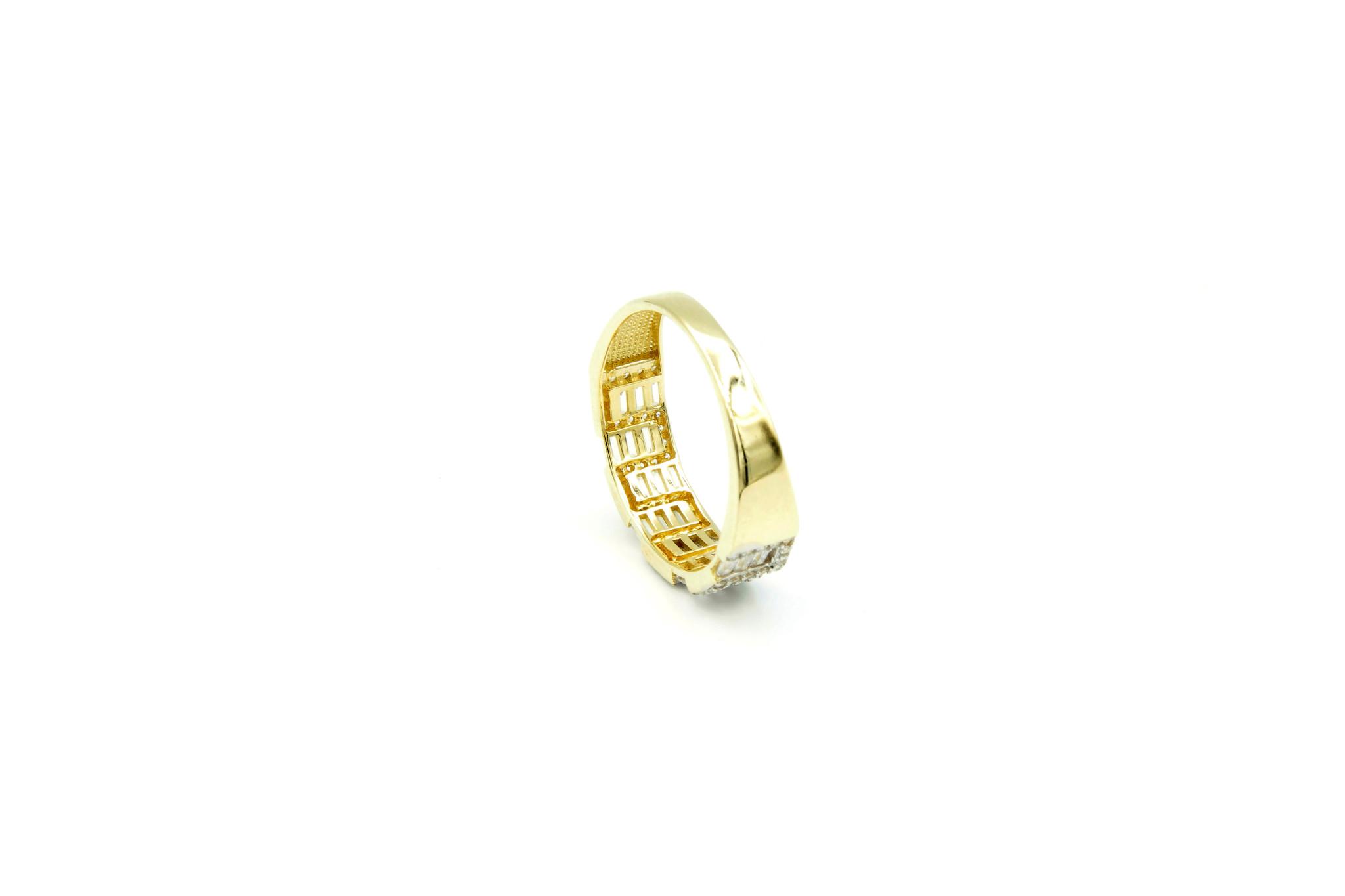 Ring met kantelen en langwerpige zirkonia's bicolor-6
