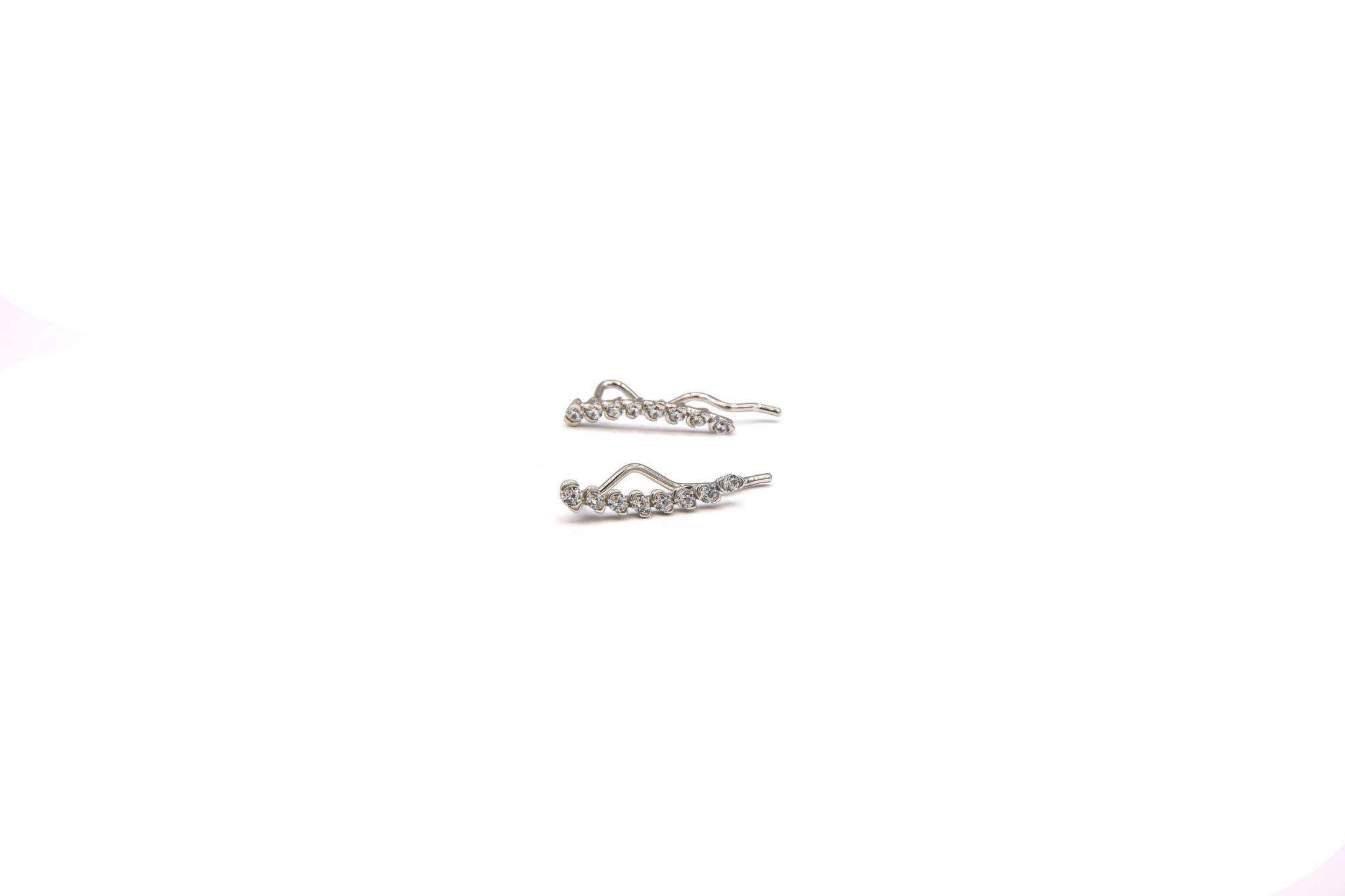 Oorbellen ear climber met zirkonia's witgoud, 1 oorbel, geen paar-3