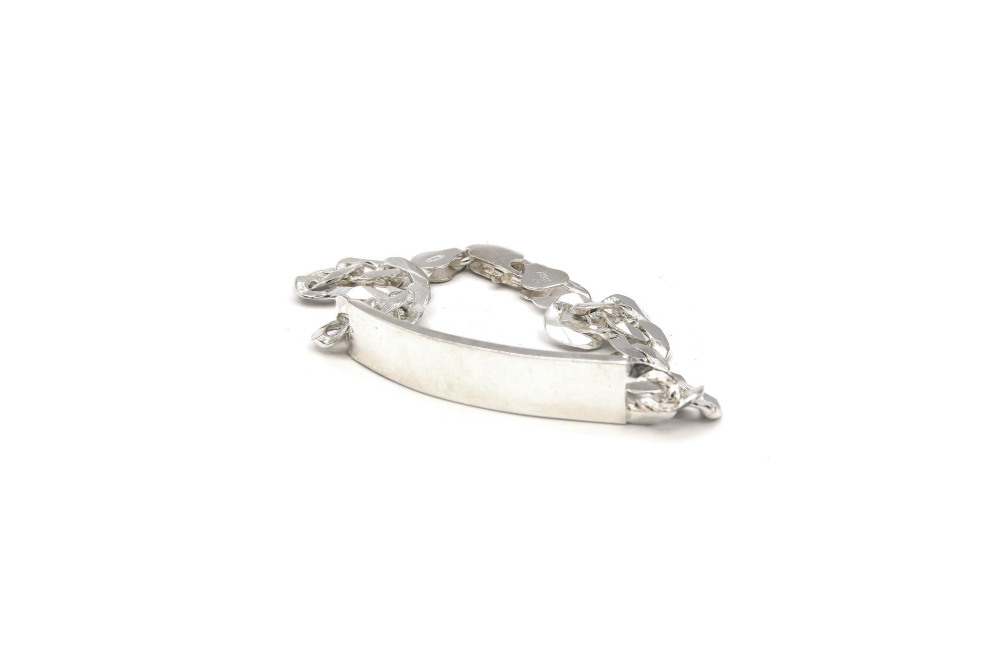 Armband figaroschakel met graveerbaar plaatje zilver-3
