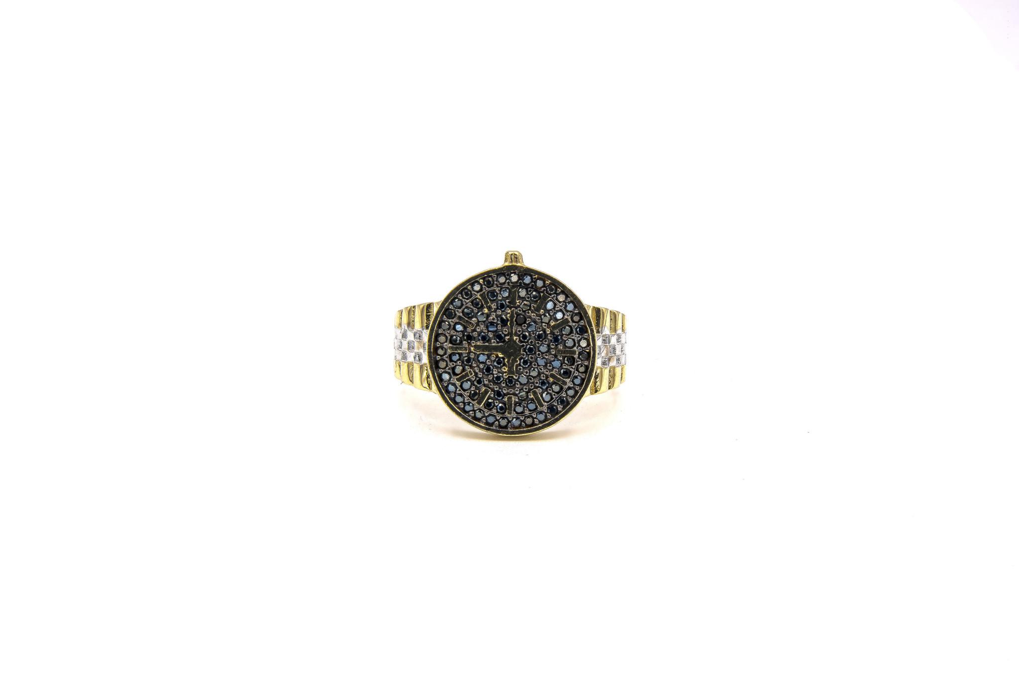 Ring met wijzerplaat met zwarte steentjes bicolor-3