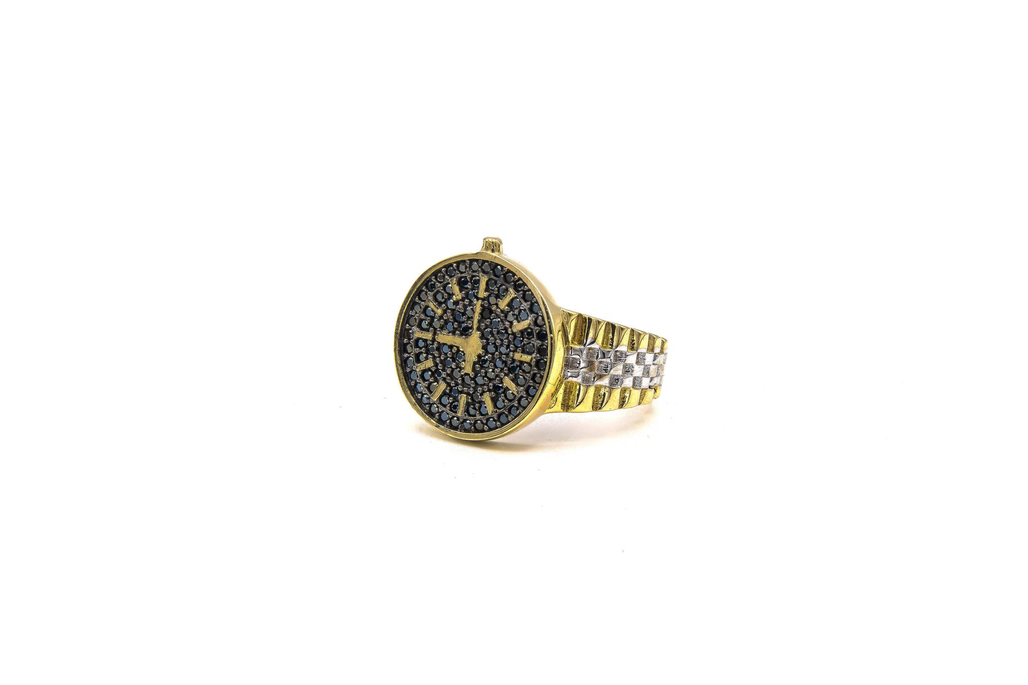 Ring met wijzerplaat met zwarte steentjes bicolor-8
