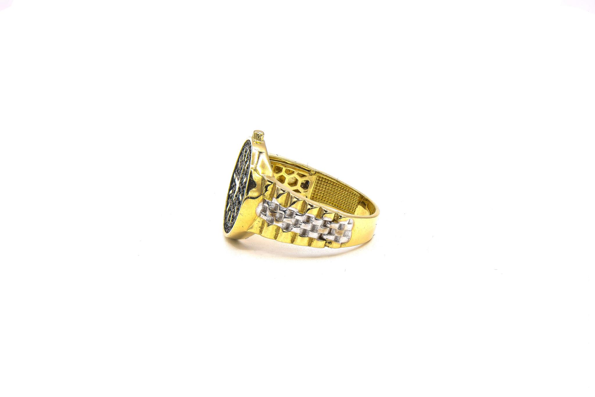 Ring met wijzerplaat met zwarte steentjes bicolor-5
