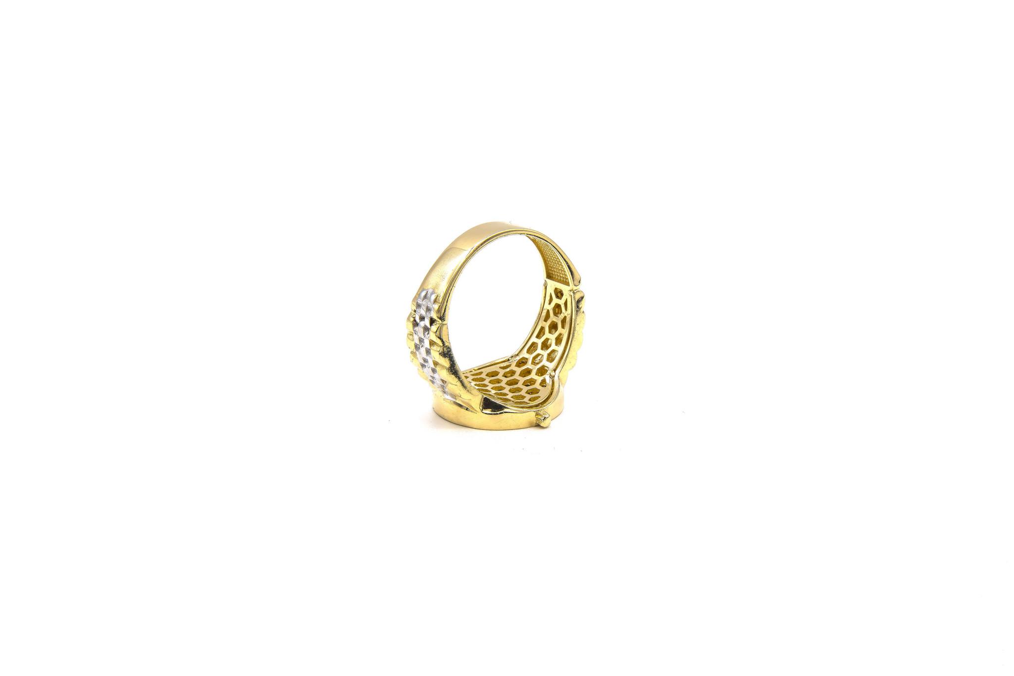 Ring met wijzerplaat met zwarte steentjes bicolor-7