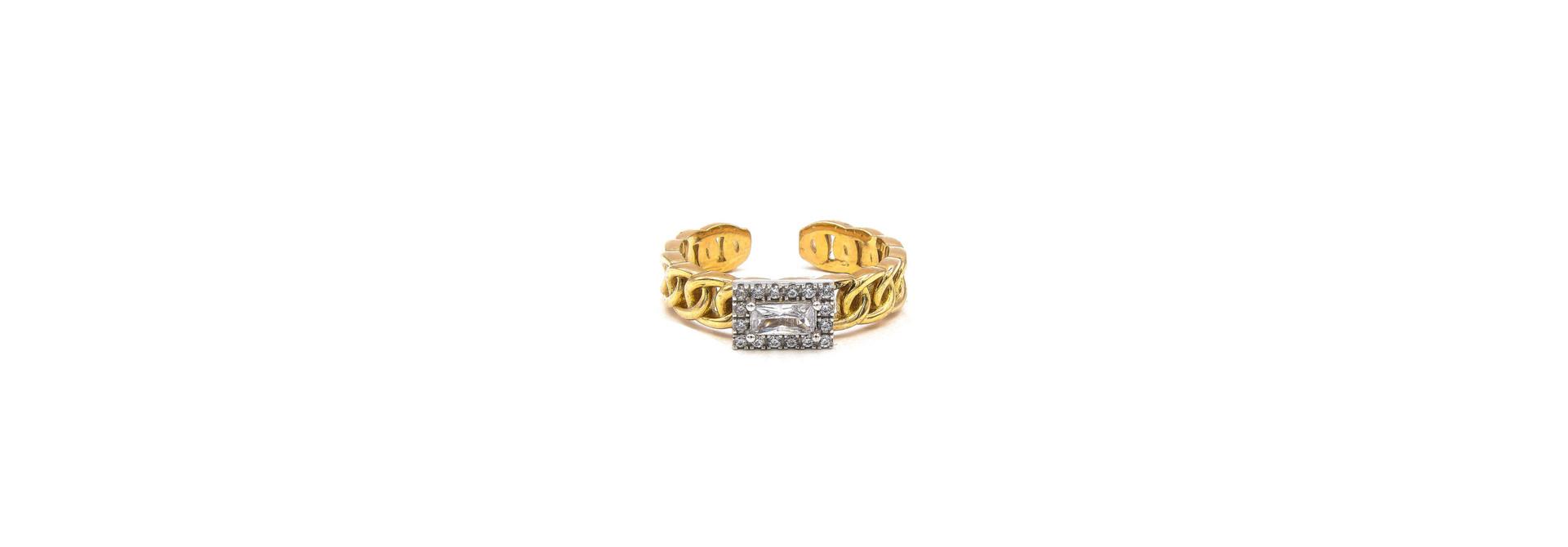 Ring rose schakel met vierkante witte steen bicolor