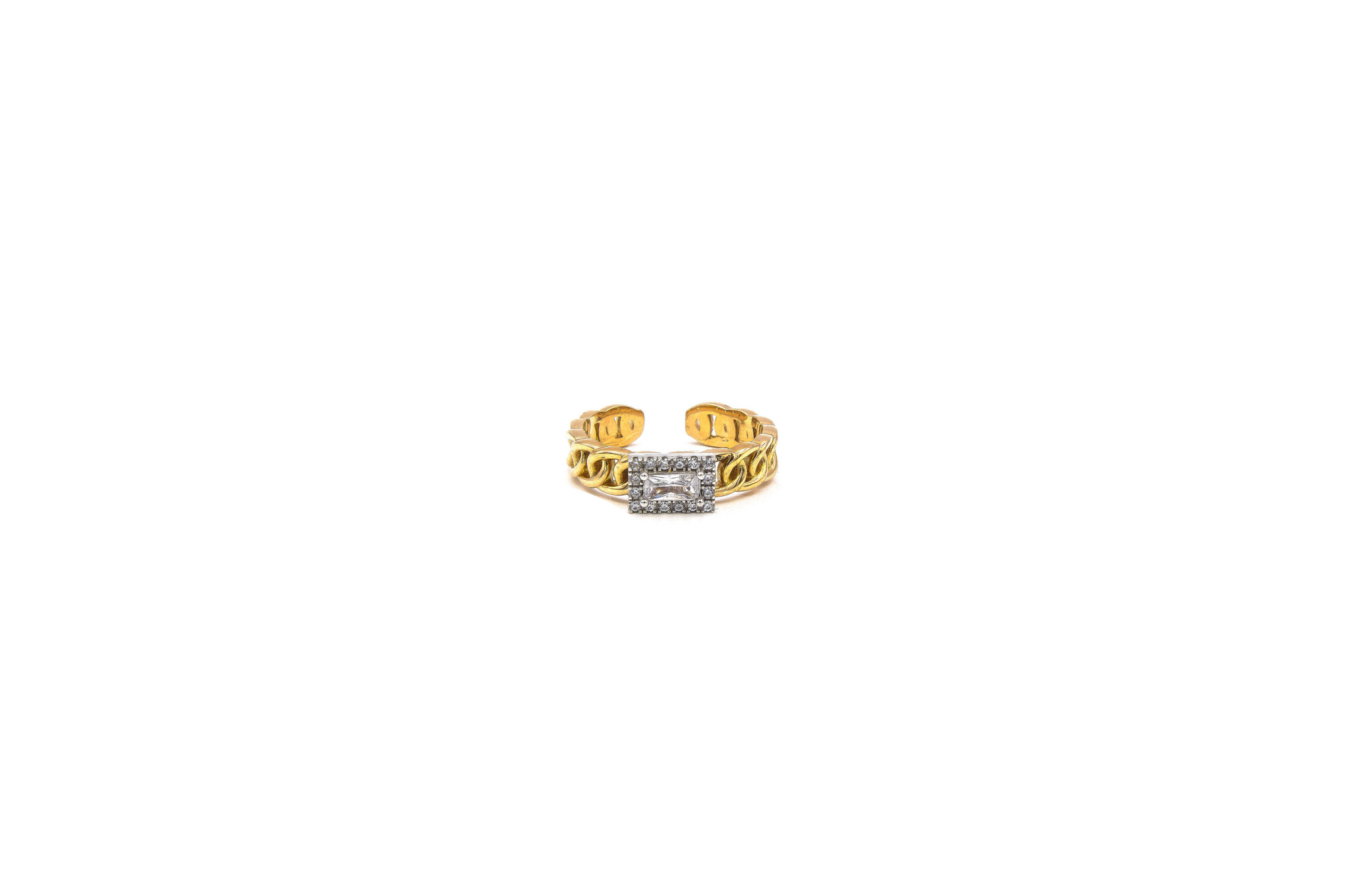 Ring rose schakel met vierkante witte steen bicolor-1