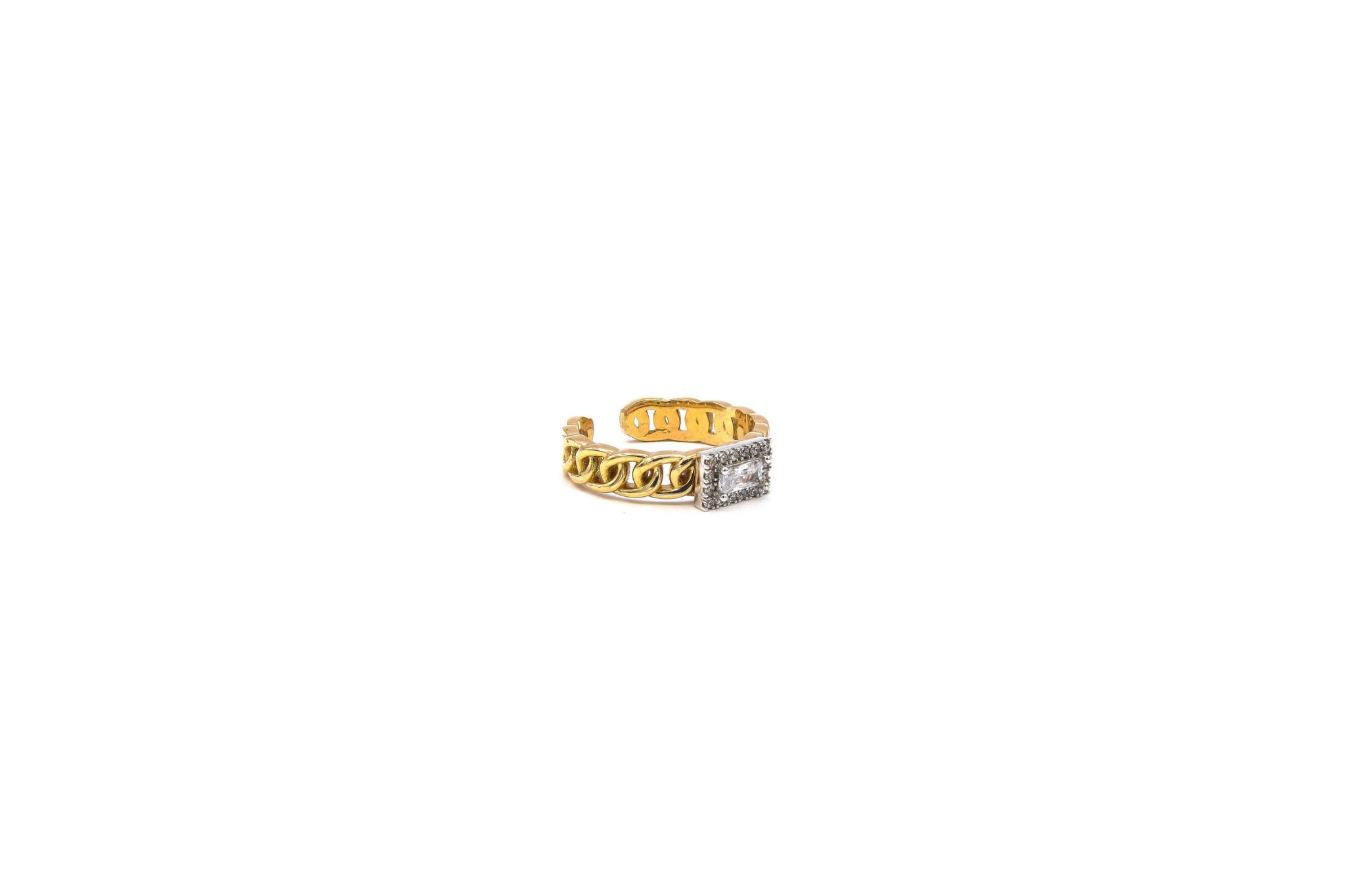 Ring rose schakel met vierkante witte steen bicolor-3