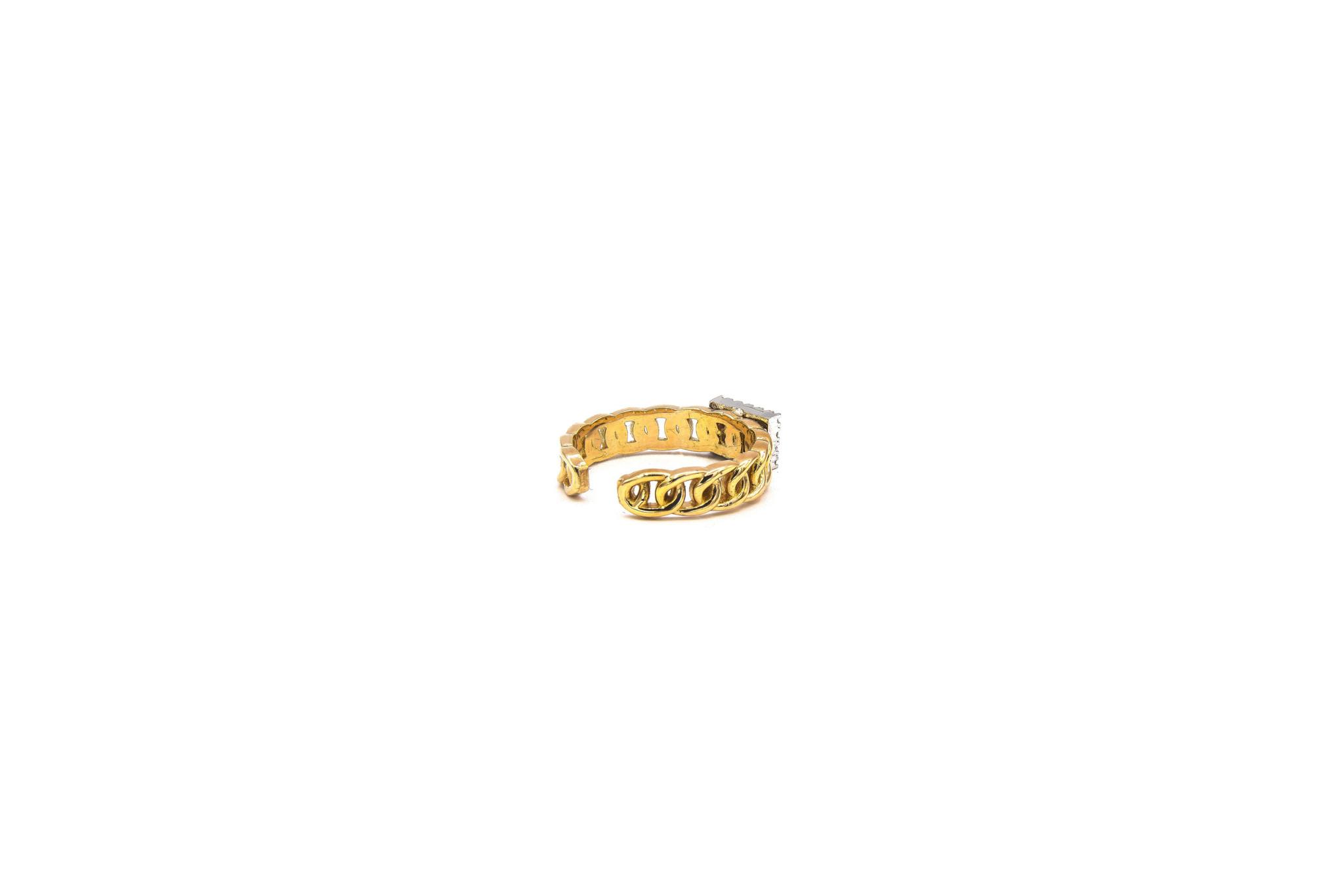 Ring rose schakel met vierkante witte steen bicolor-5