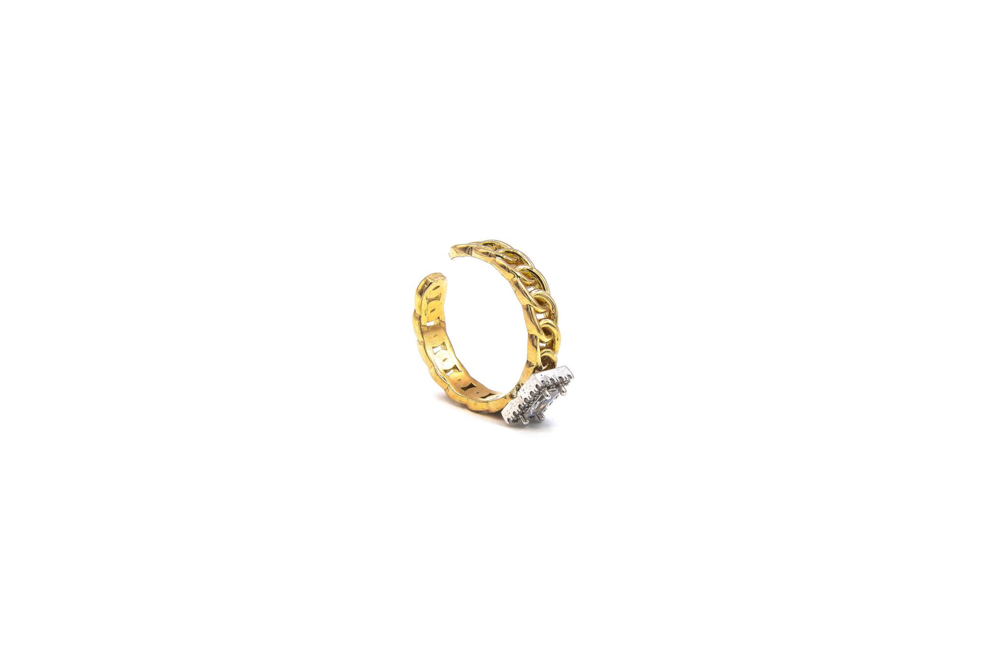 Ring rose schakel met vierkante witte steen bicolor-6